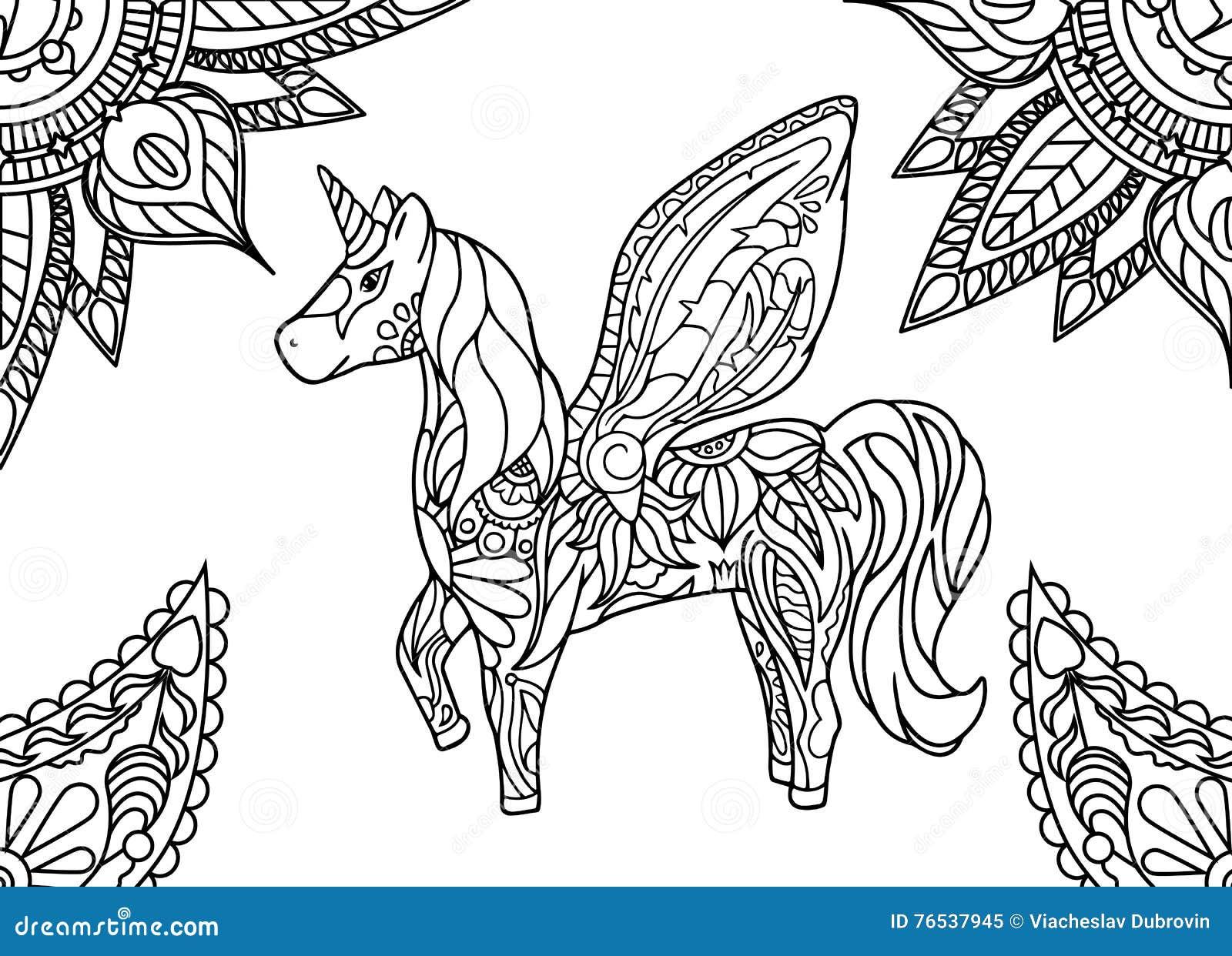 Einhorn Mit Mandala Und Paisley-Verzierung Horizontale Erwachsene