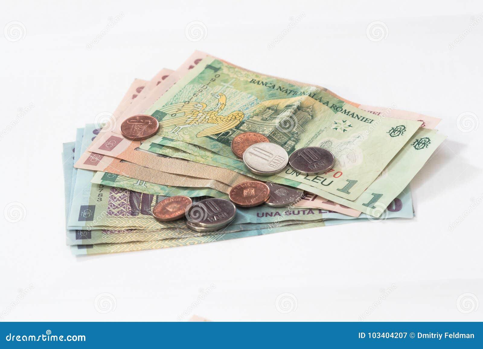 Einige Banknoten Wert Die 100 10 Und 1 Rumäne Leu Mit Einigen