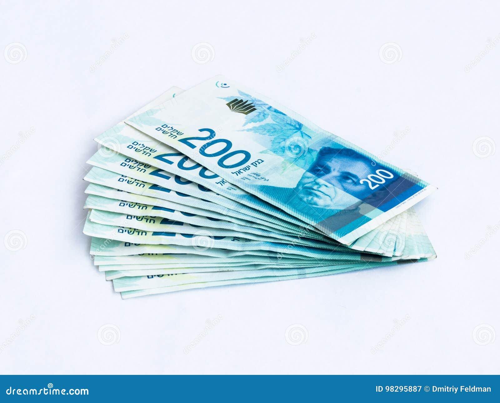 Einige Neue Banknoten Wert 200 Israelische Neue Schekel Auf Einem