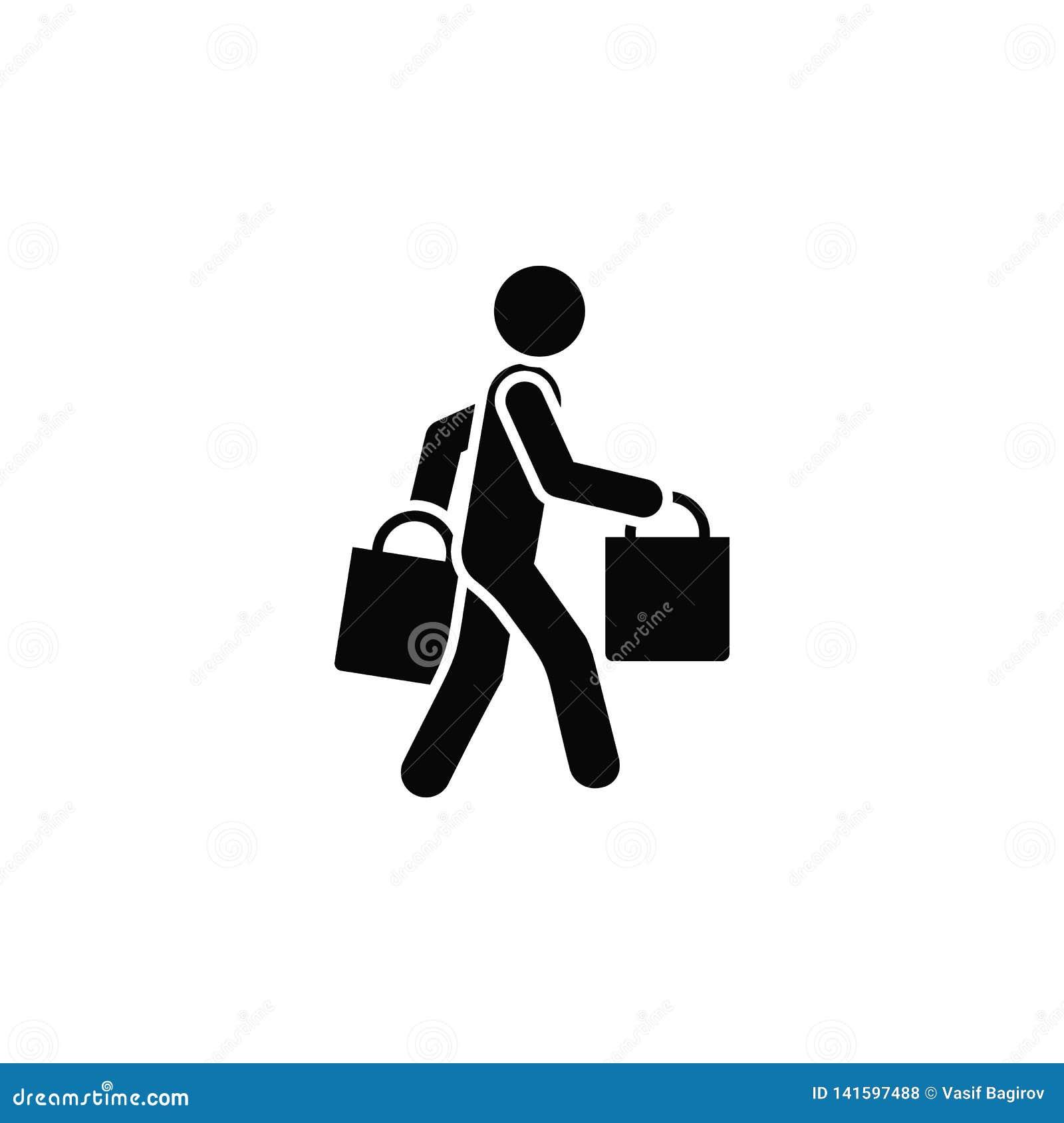 Einkaufen, Mann, Ikone r Starke Linie Ikone für Websitedesign
