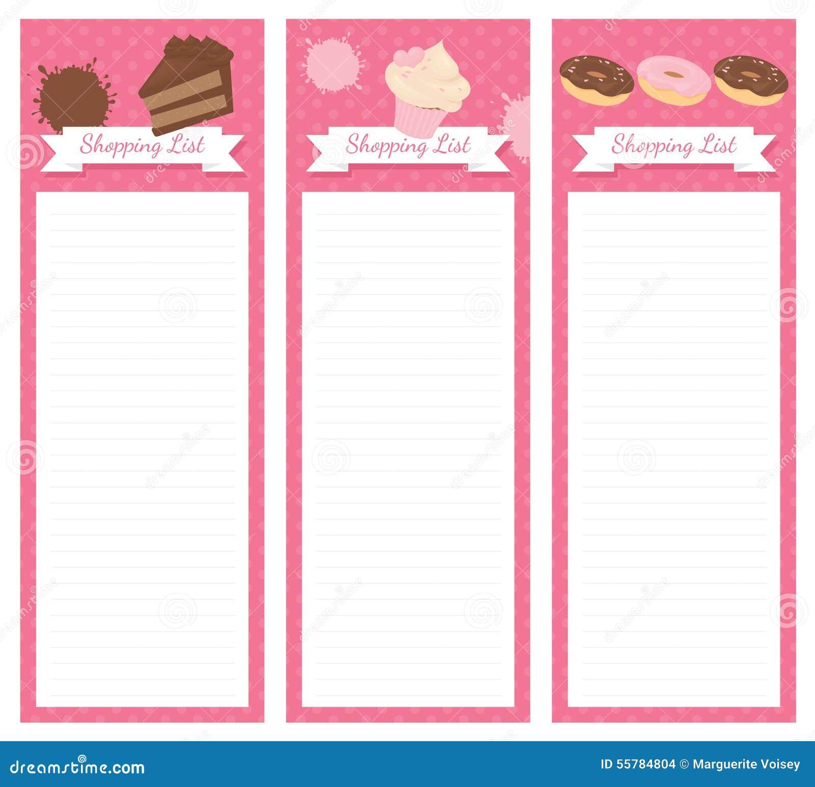 Einkaufsliste-Design-Kuchen Stock Abbildung - Bild: 55784804