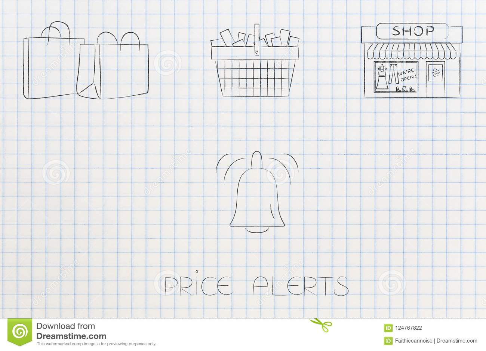 Einkaufstaschekorb und -speicher mit Preis alarmieren Mitteilungsbel