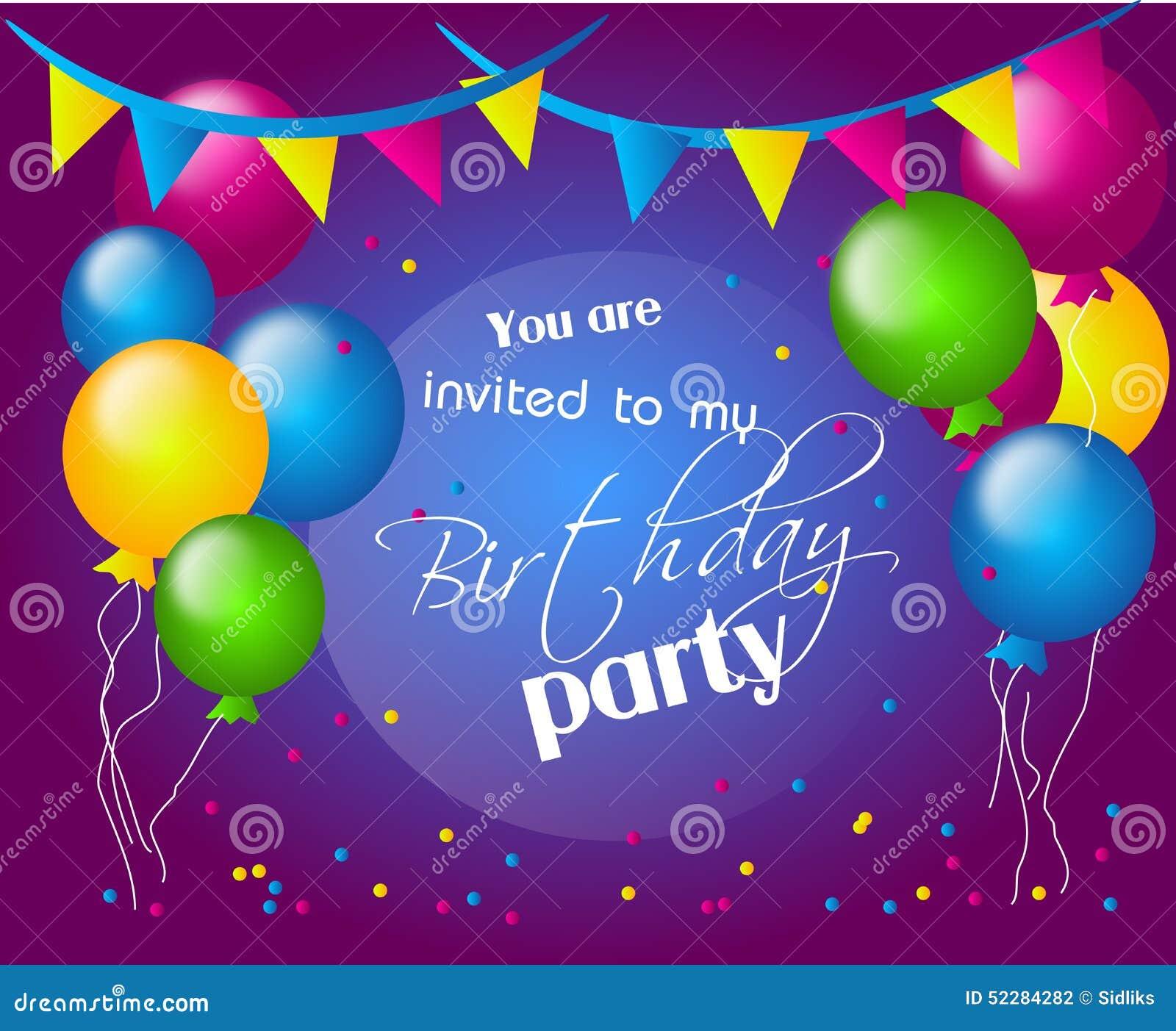 einladung an geburtstagsfeier stock abbildung - bild: 52284282, Einladung