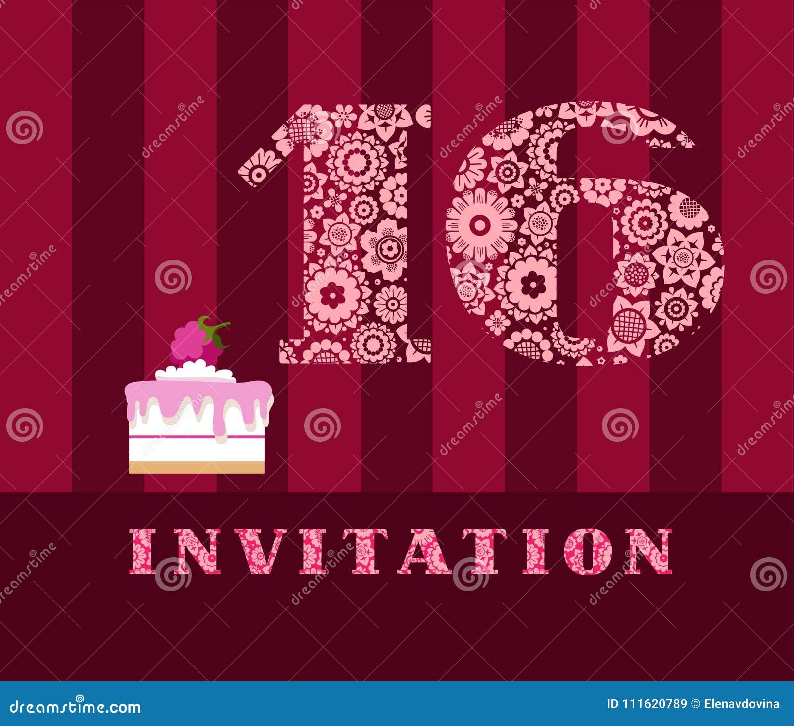 Einladung, 16 Jahre Alt, Kuchen, Farbe, Vektor Vektor Abbildung ...