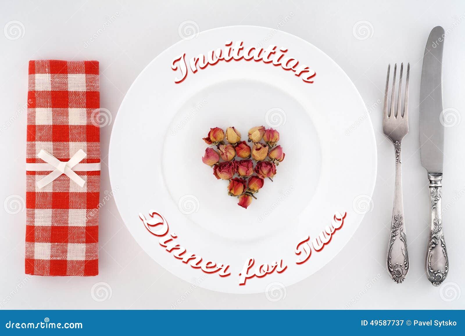 einladung zum abendessen für zwei gedeck mit herzen von rosen, Einladung