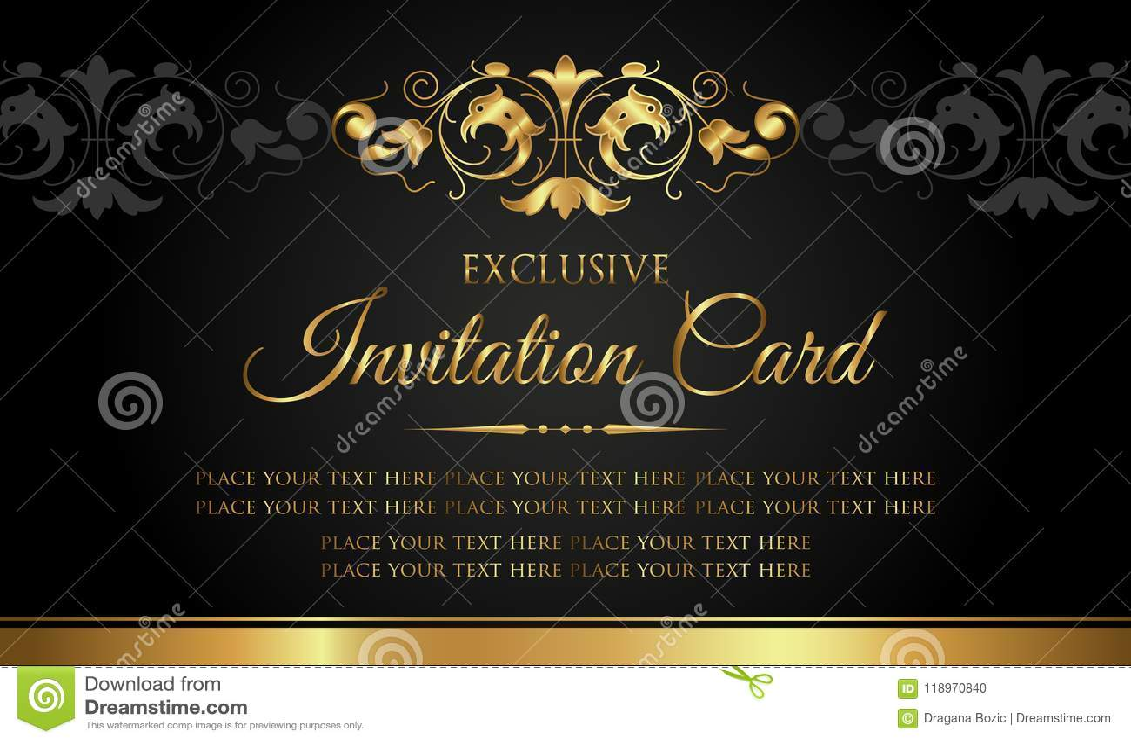Einladungskarte - Luxusschwarz- und Goldweinleseart