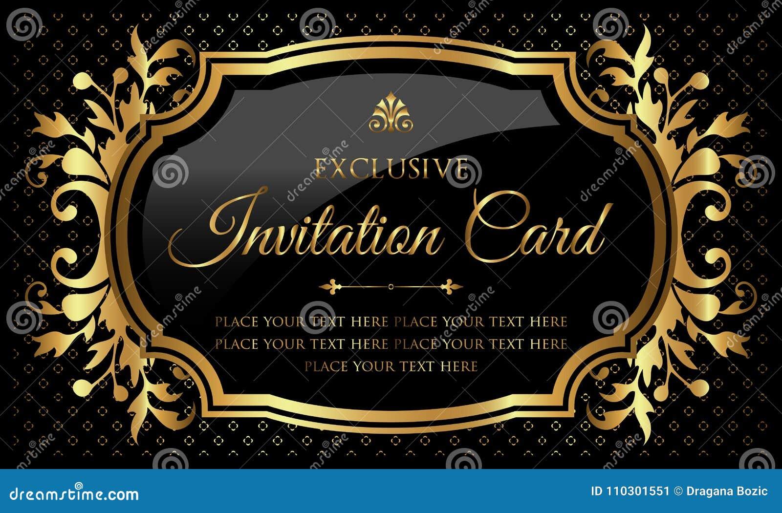 Einladungskarte - Luxusschwarzes und Gold entwerfen in der Weinleseart