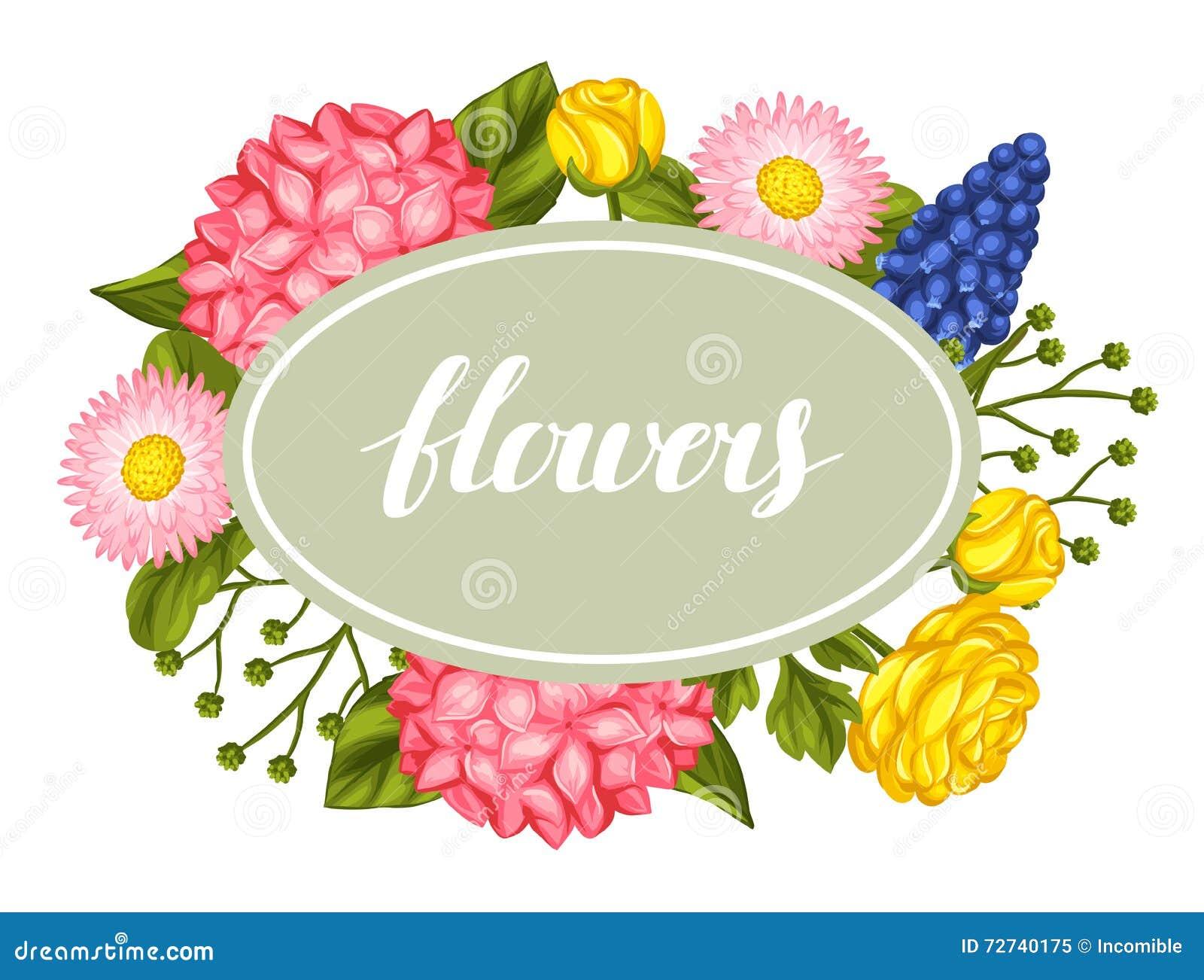 Einladungskarte Mit Gartenblumen Dekoratives Hortense, Ranunculus, Muscari  Und Gänseblümchen Bild Für Die Heirat Vektor