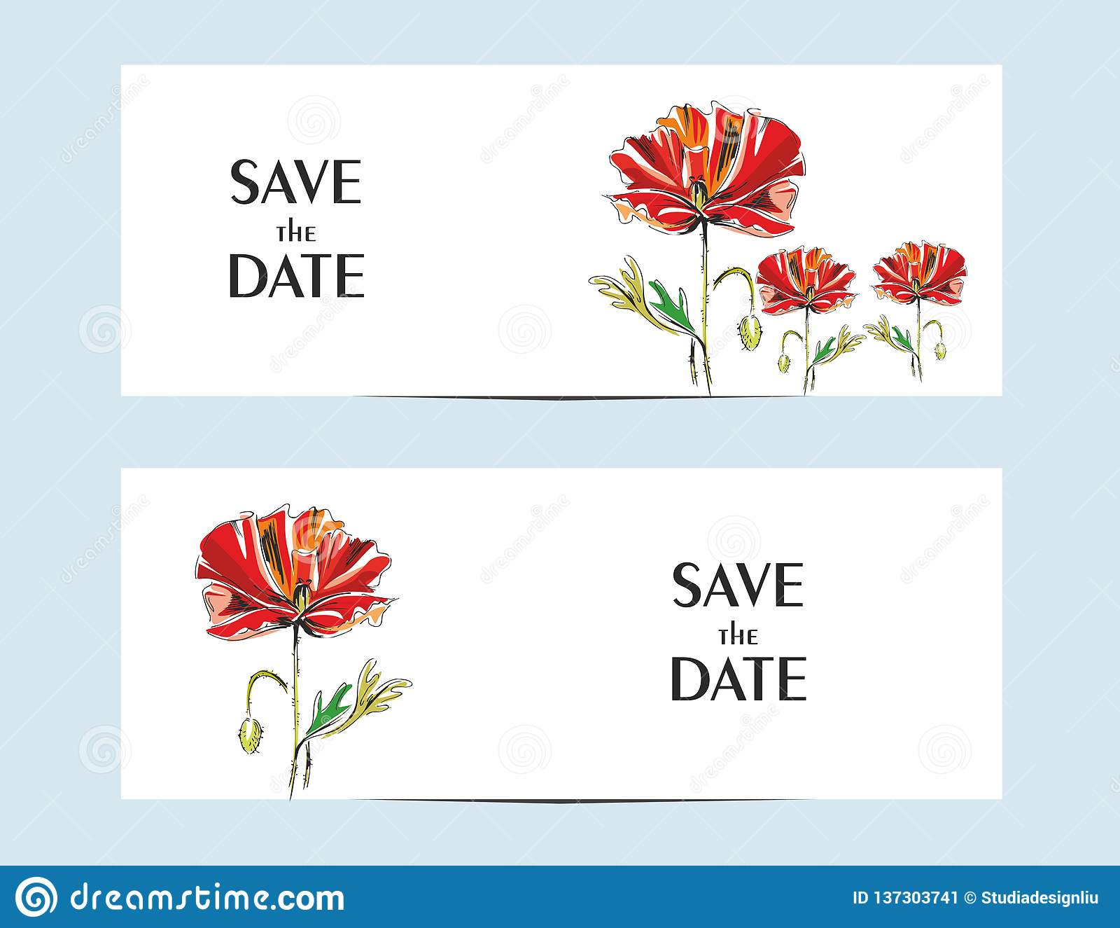 Einladungskarten mit einer roten Mohnblume für Ihr Design