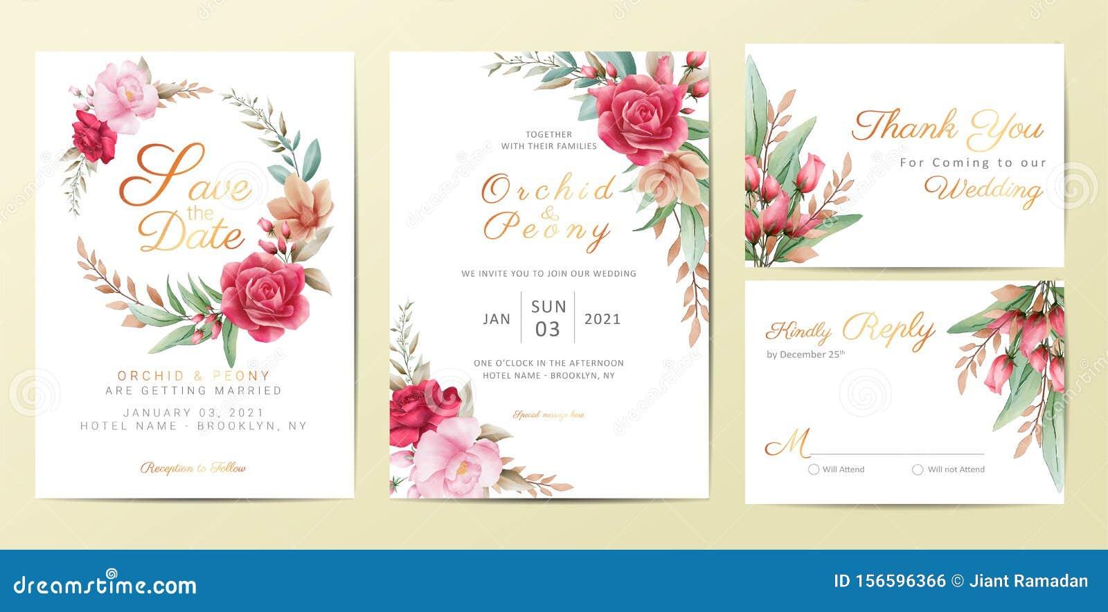 einladungskarten mit eleganten blumen. blumendekoration