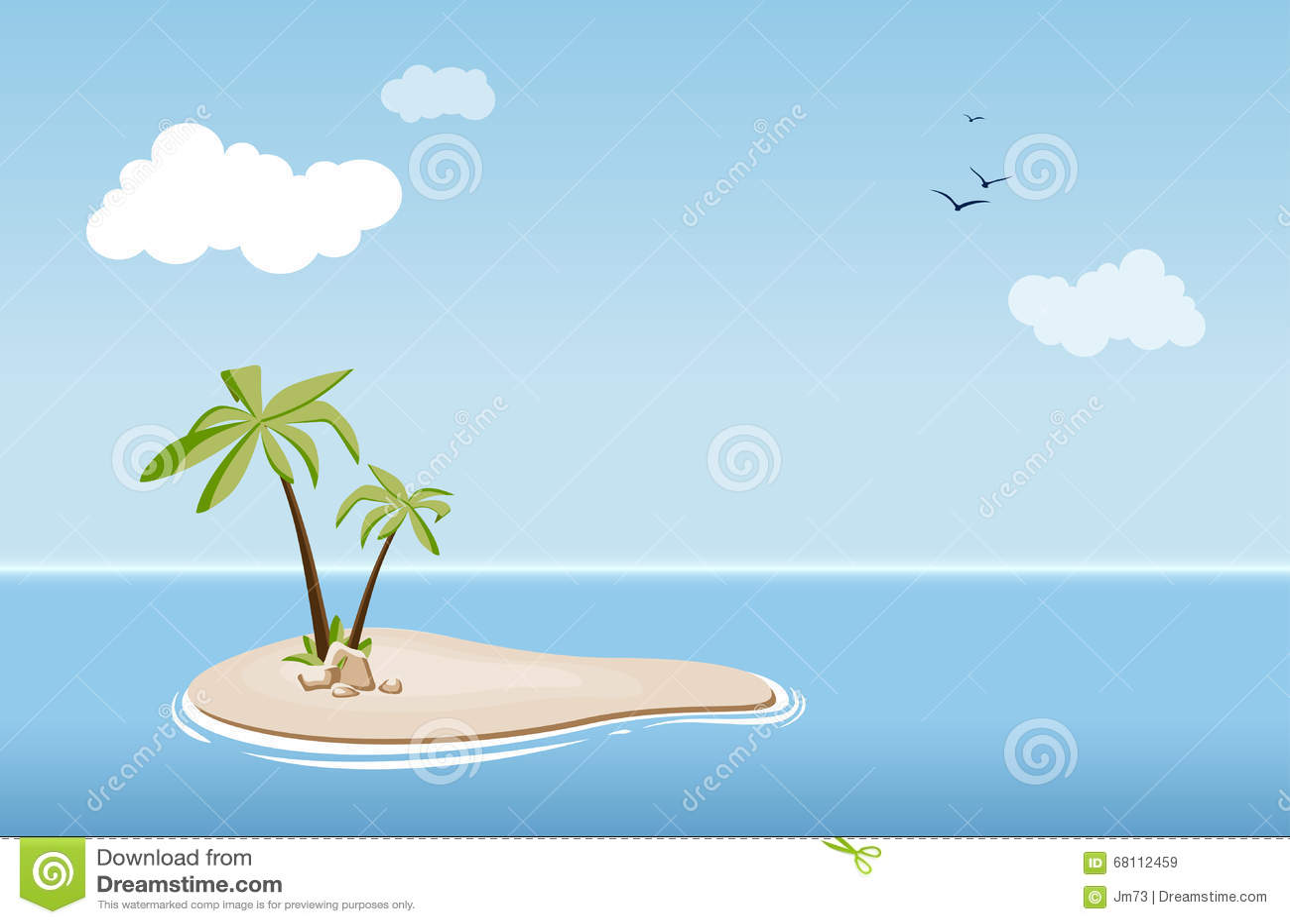 Einsame insel mit palmen im meer vektor abbildung for Koch auf englisch
