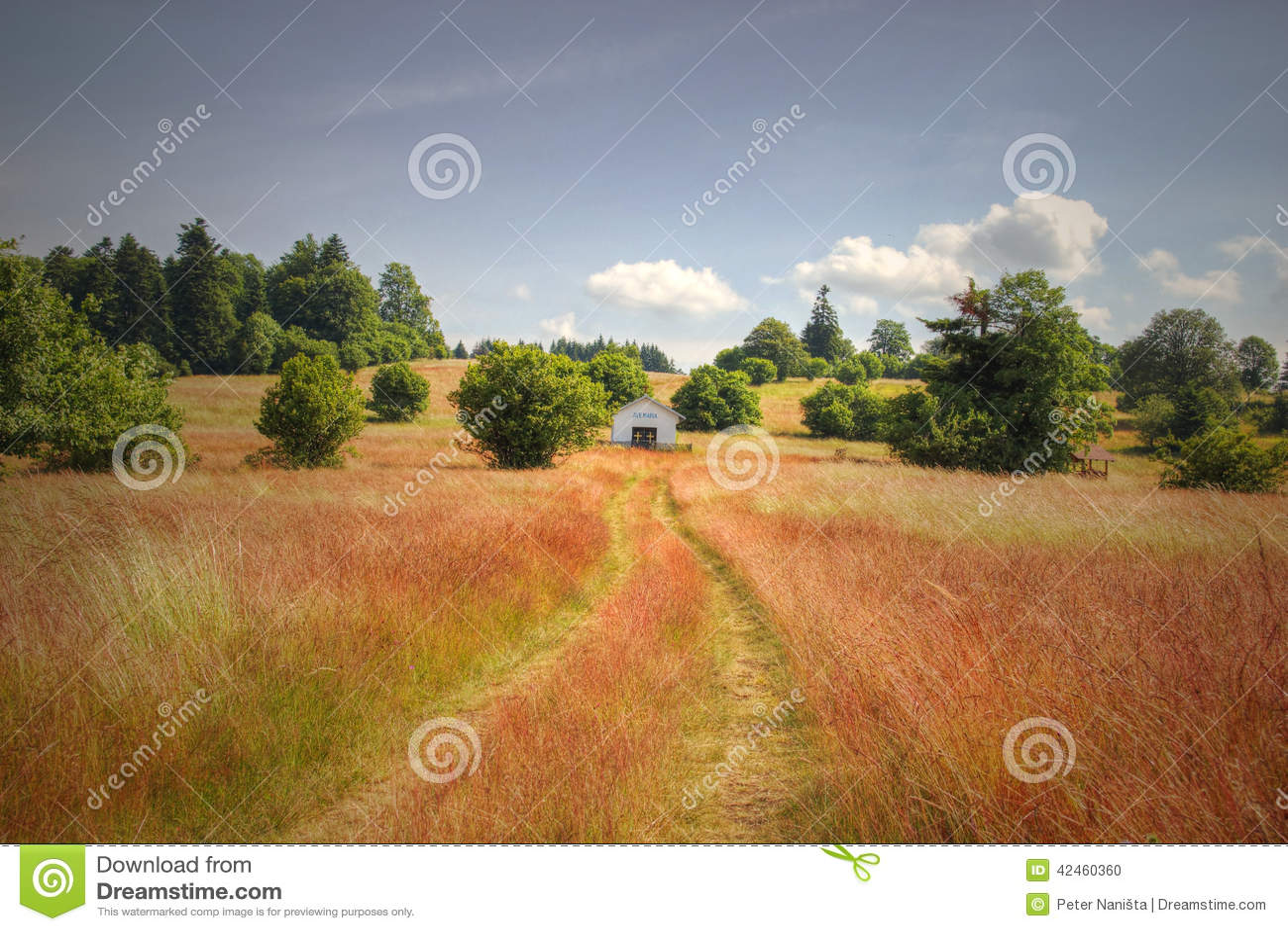 Einsame Kapelle auf roter Rasenfläche