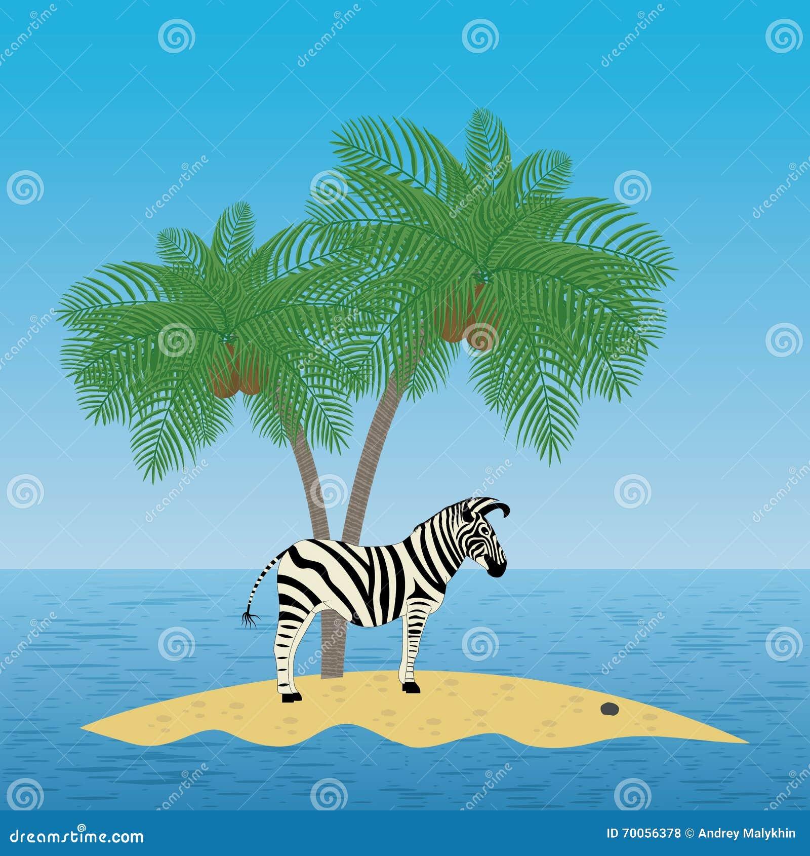einsames zebra auf der insel mit einer palme vektor abbildung illustration von nave reiseflug. Black Bedroom Furniture Sets. Home Design Ideas
