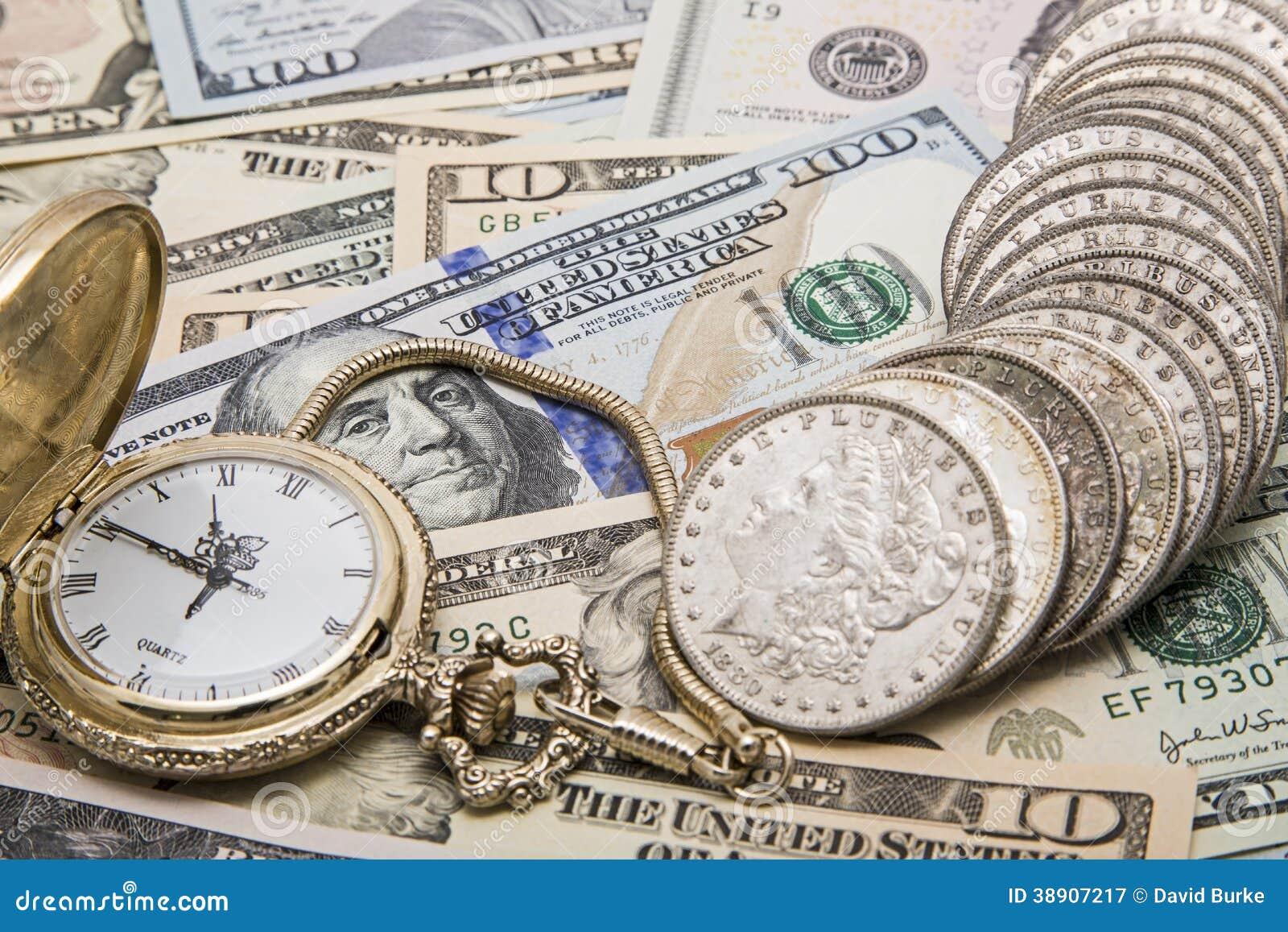 Einsparungen der silbernen Dollar der ZeitGelddispositions-Uhr