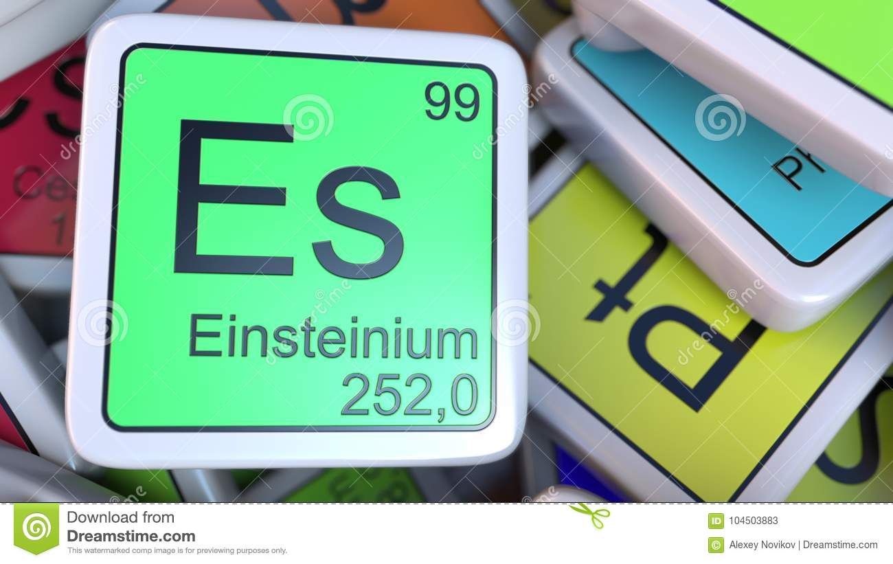 Einsteinium Es Block On The Pile Of Periodic Table Of The Chemical