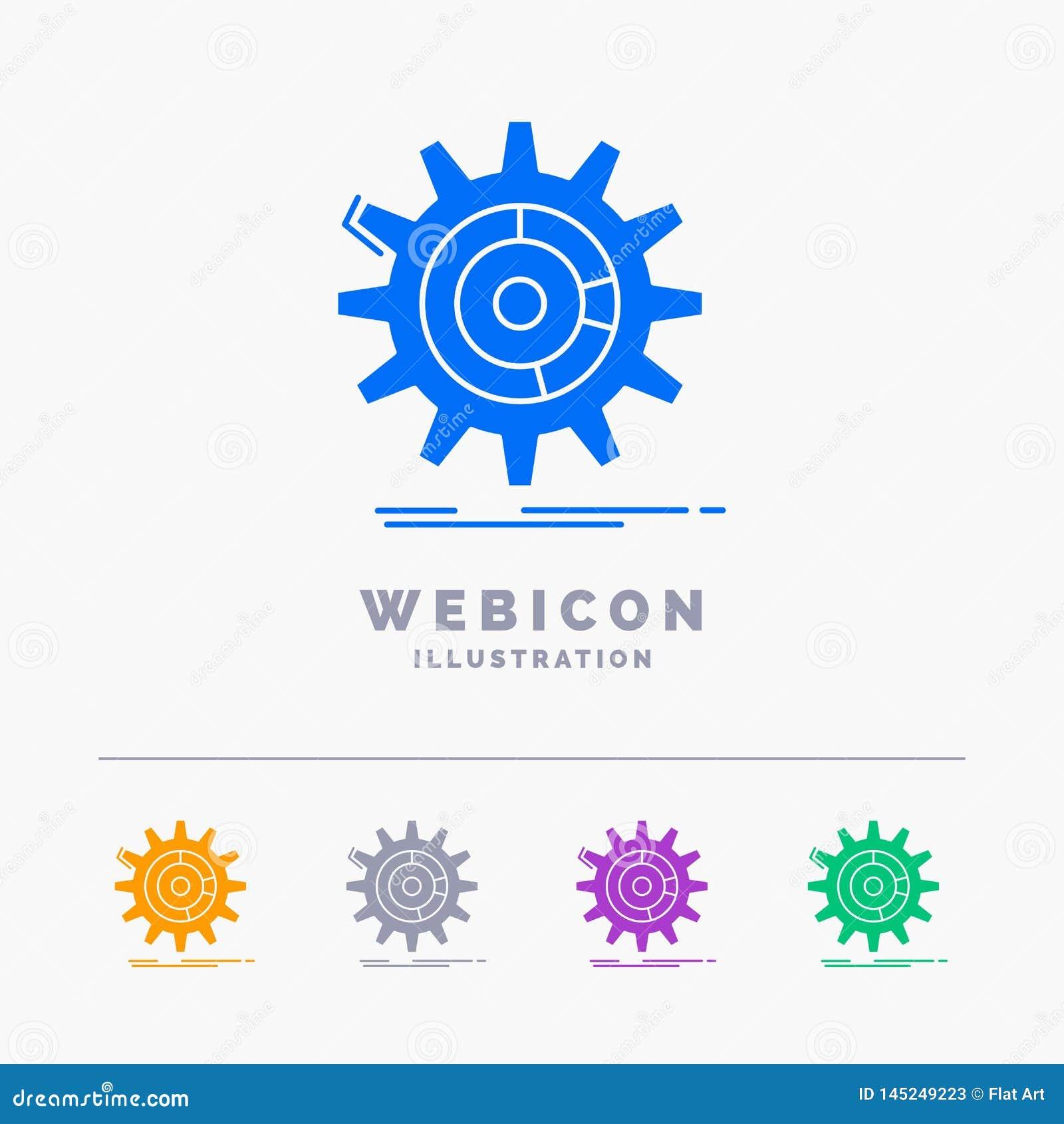 Einstellung, Daten, Management, Prozess, Fortschritt 5 Farbeglyph-Netz-Ikonen-Schablone lokalisiert auf Weiß Auch im corel abgeho