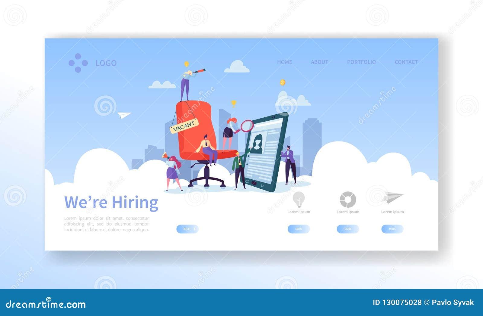 Einstellung, Vorstellungsgespräch-Konzept-Landungs-Seite Leute-Charaktere Stunden-Manager-Website-Schablone der freien Stelle fla
