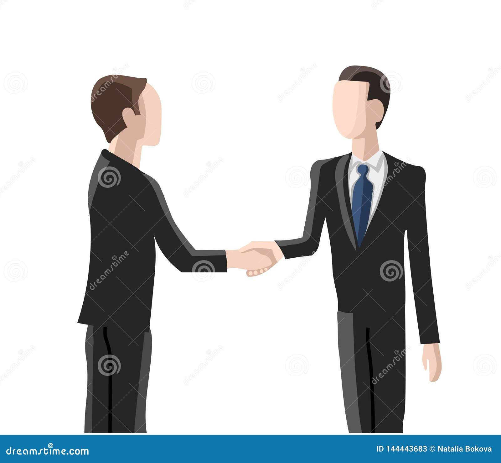Einstellung, zwei Männer, die Hände rütteln