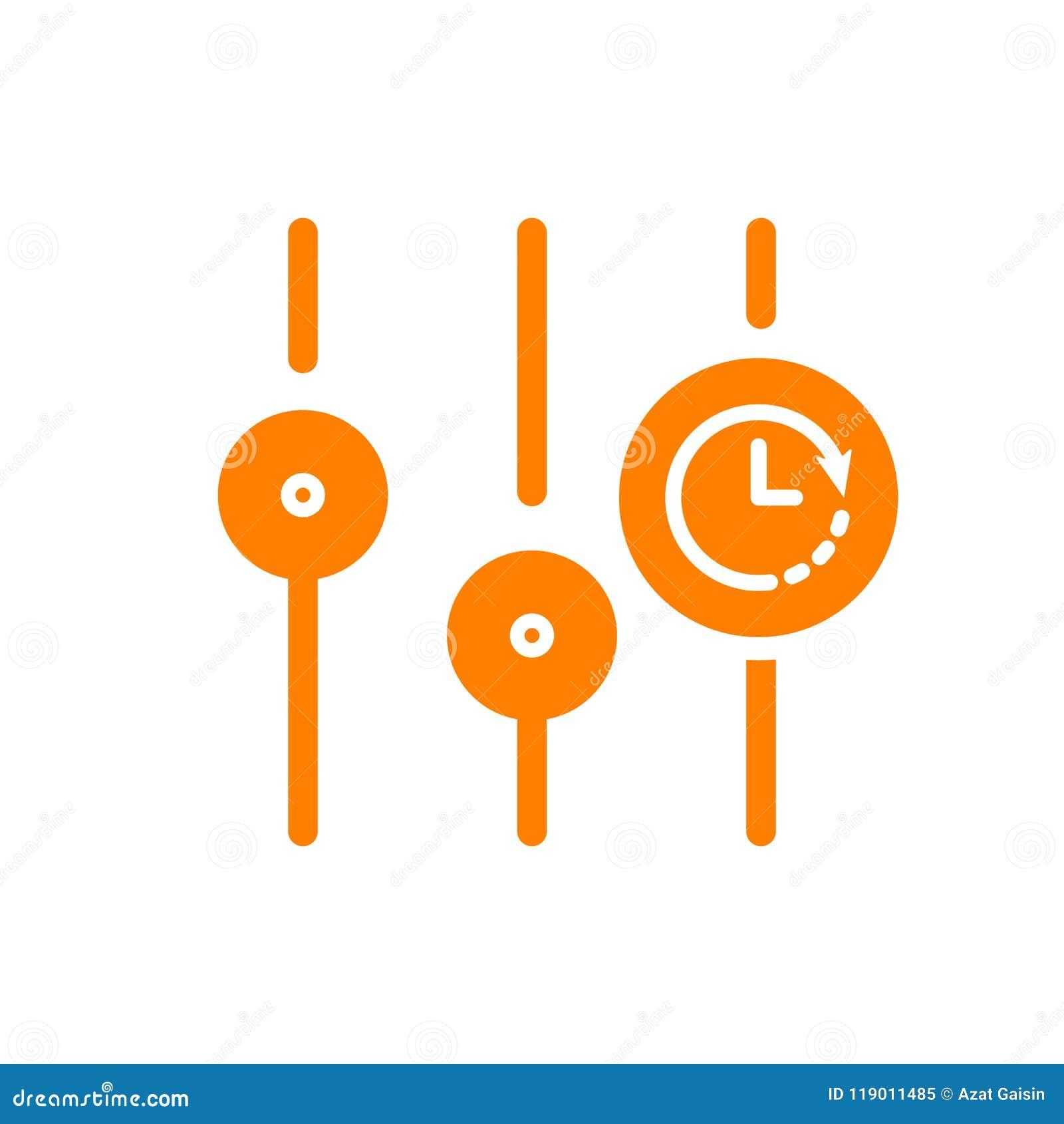 Einstellungen Ikone, Multimediaikone mit Uhrzeichen Einstellungen Ikone und Count-down, Frist, Zeitplan, Planungssymbol