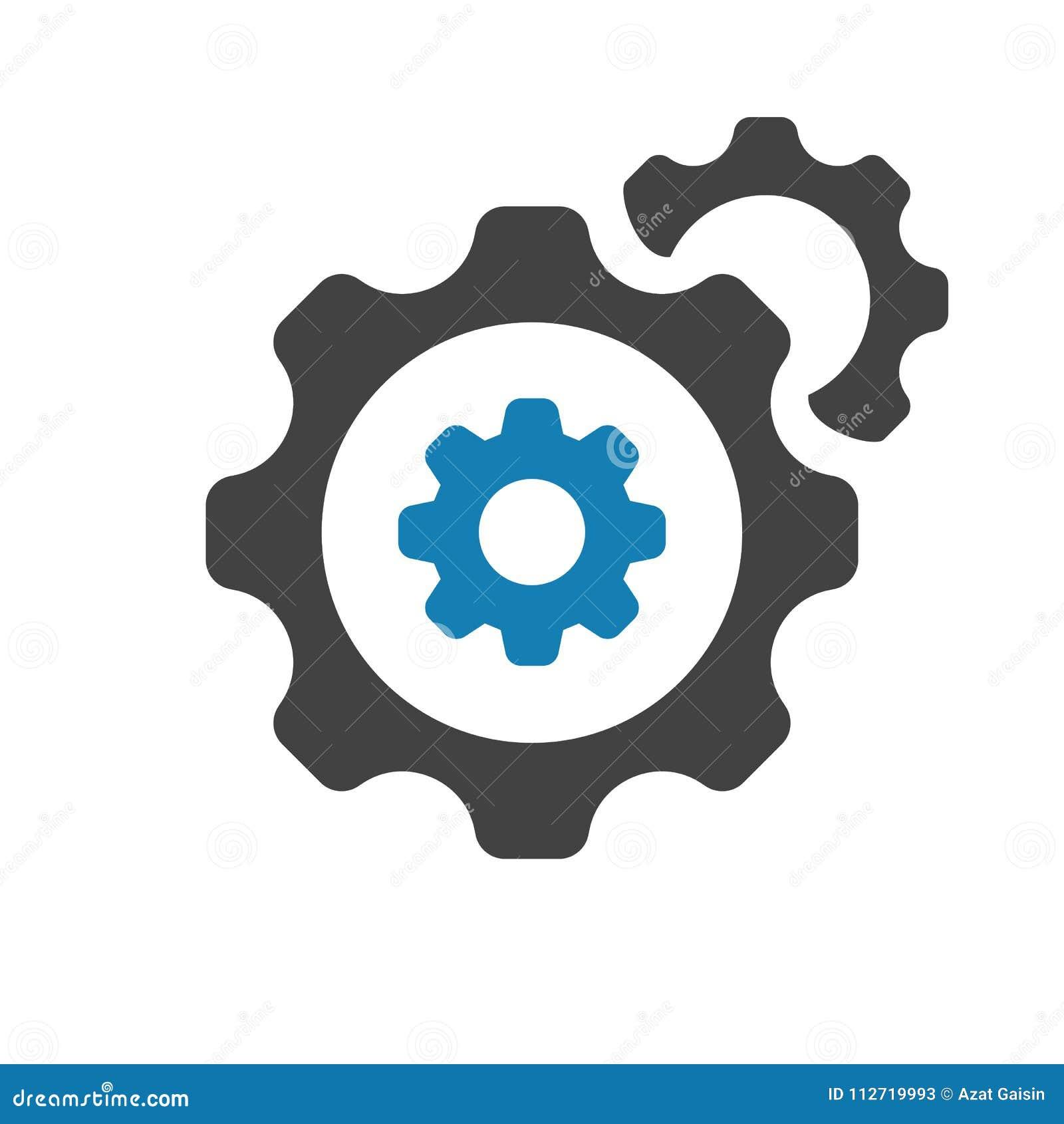 Einstellungsikone mit Einstellungszeichen Einstellungsikone und fertigen besonders an, gründeten, handhaben, verarbeiten Symbol