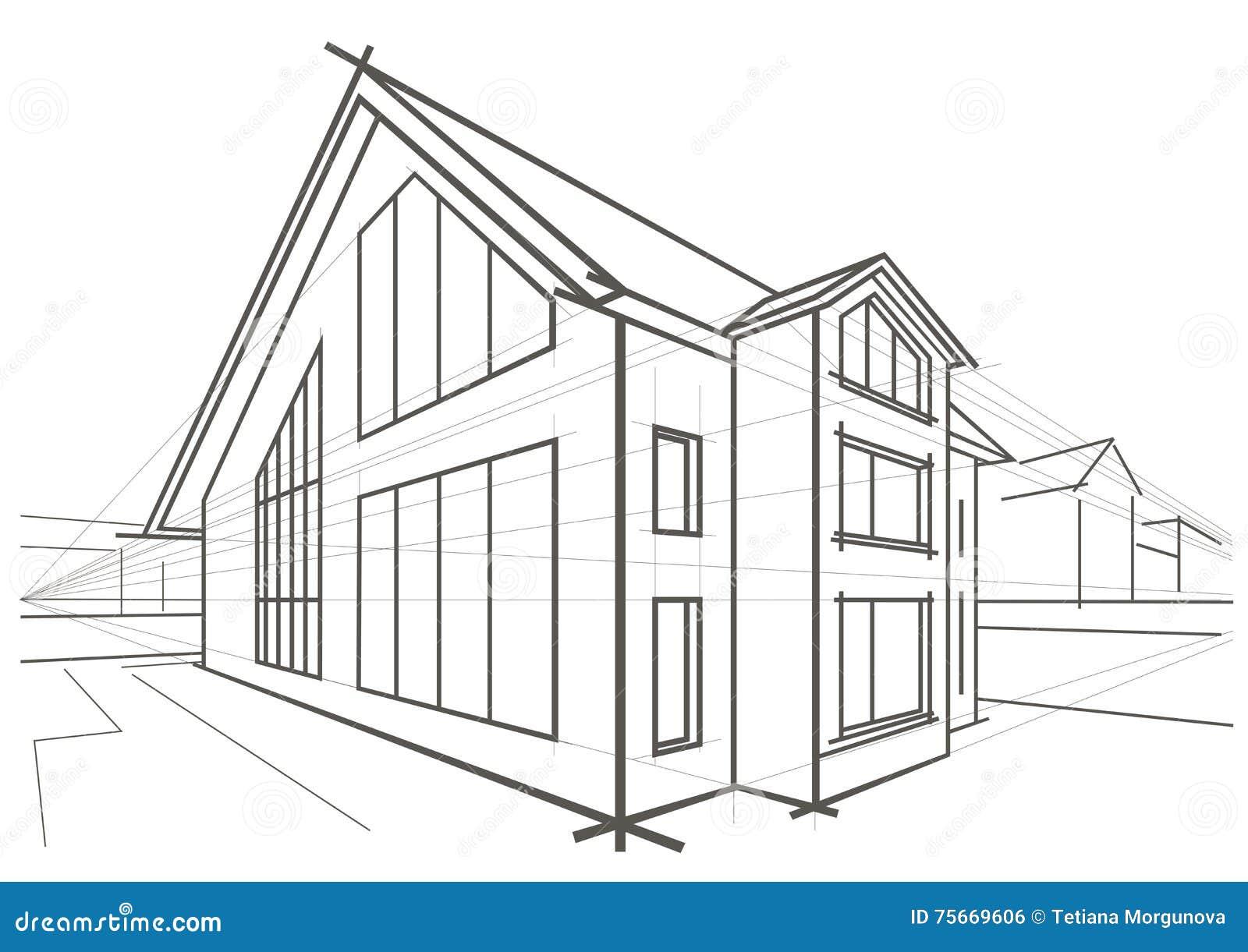 Einzelhaus der architekturskizze vektor abbildung bild 75669606 - Architektur skizzen zeichnen ...