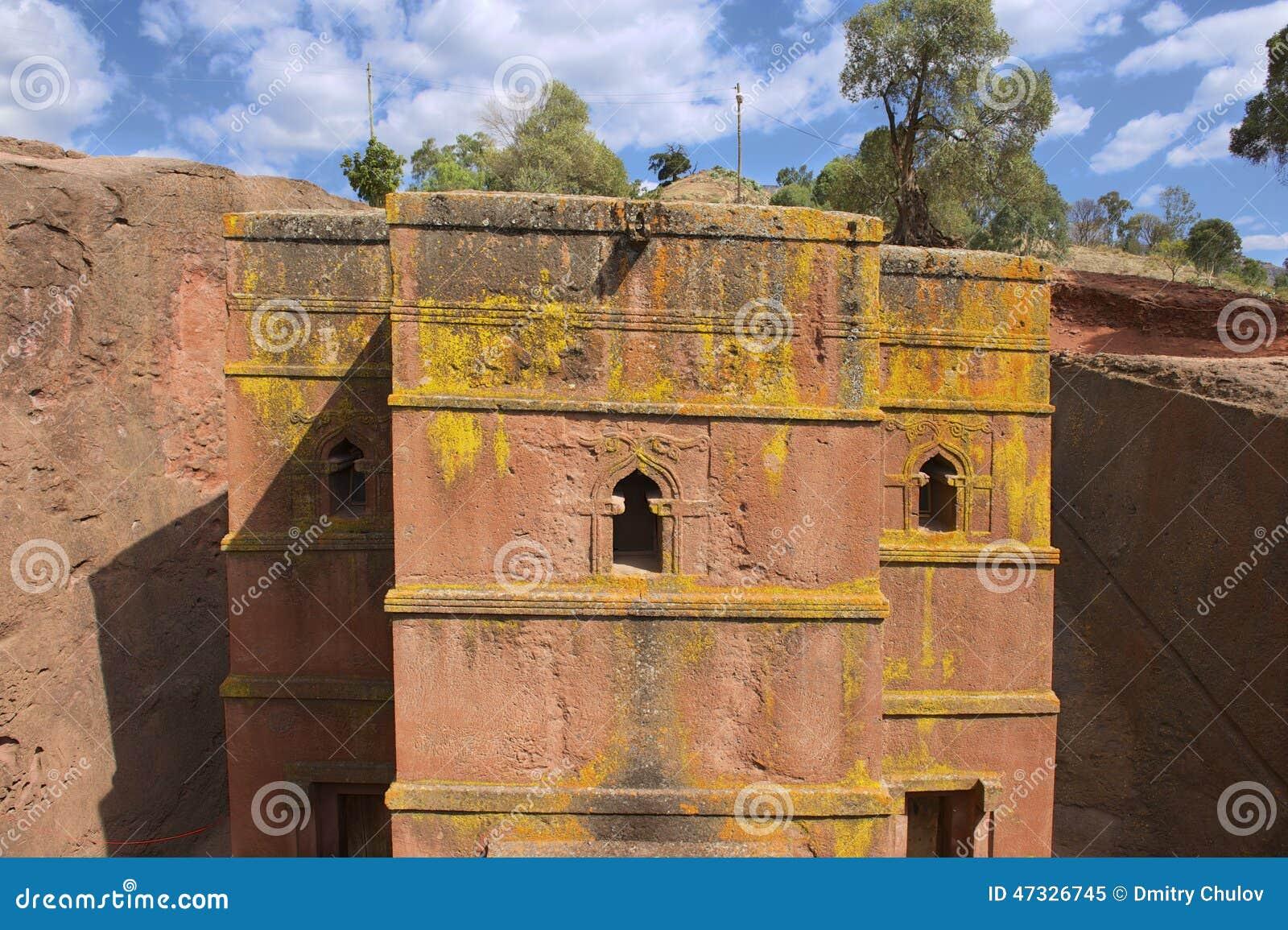 Einzigartige stein-gehauene Kirche von St George (Bete Giyorgis), UNESCO-Welterbe, Lalibela, Äthiopien