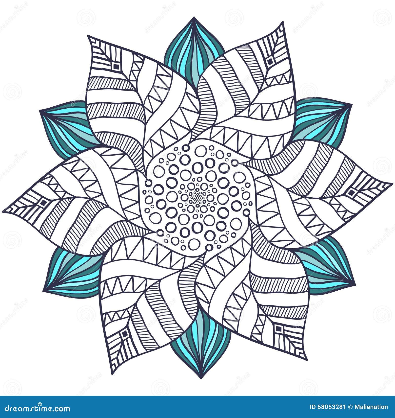 Einzigartiger Mandalavektor In Der Blumenart Kreis Zentangle Für ...