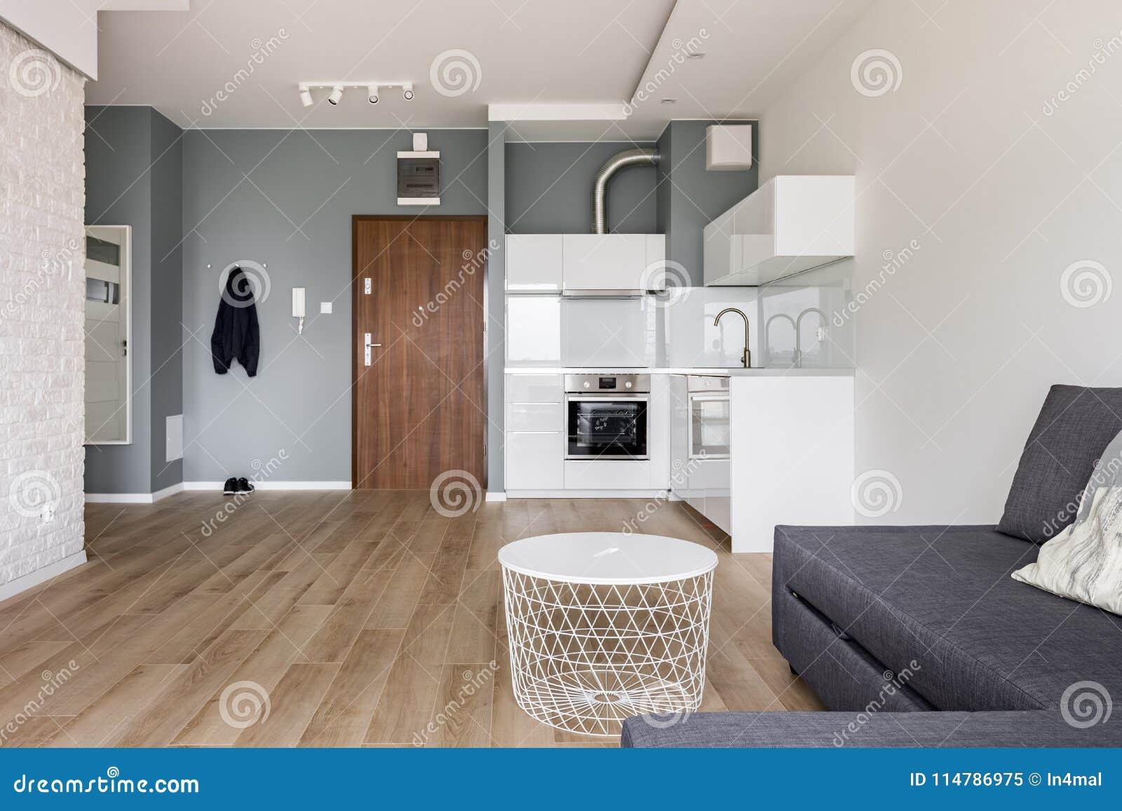 Einzimmerwohnung Mit Kleiner Küche Stockbild - Bild von leben, couch ...