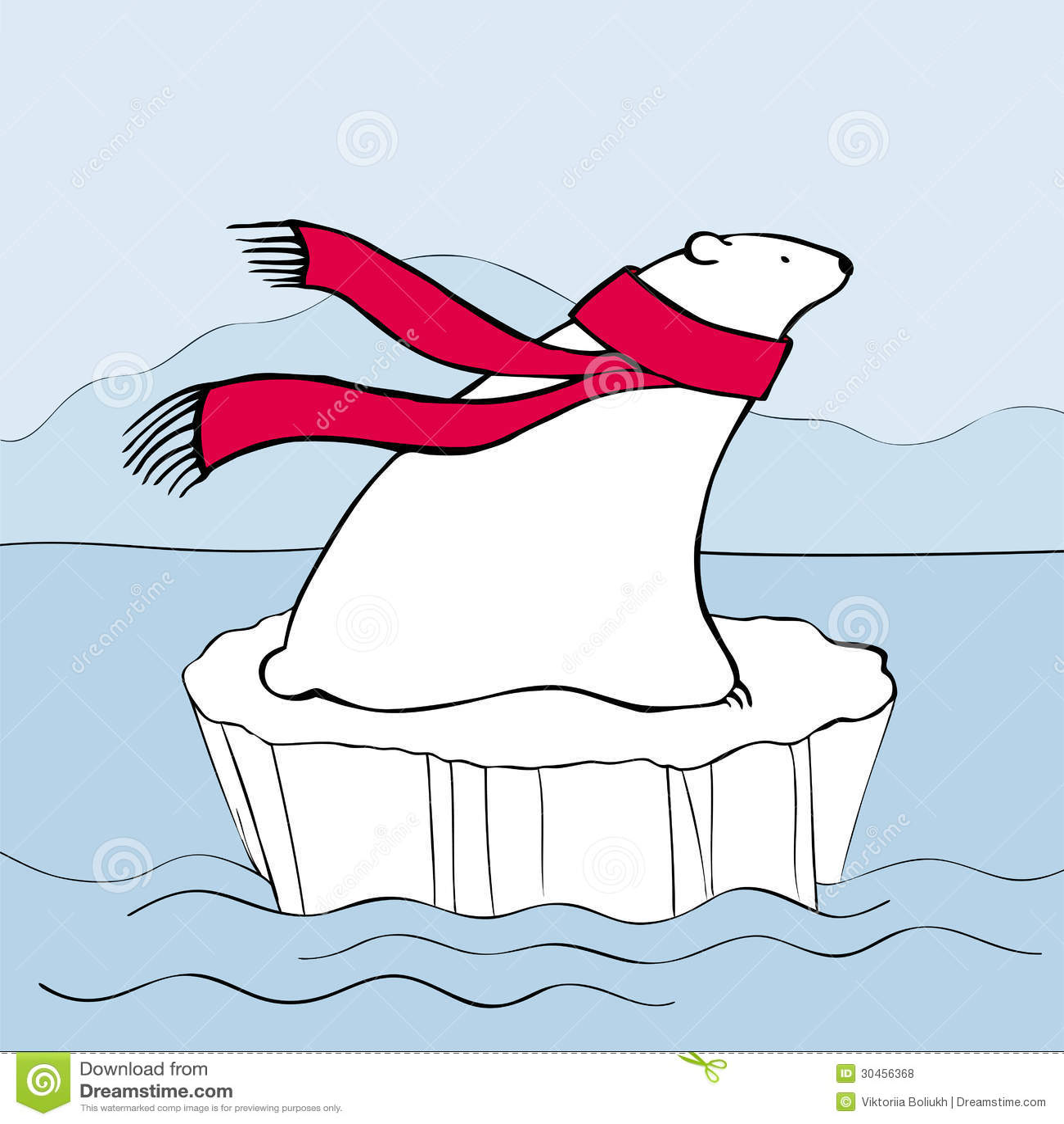 Eisbär im roten Schal
