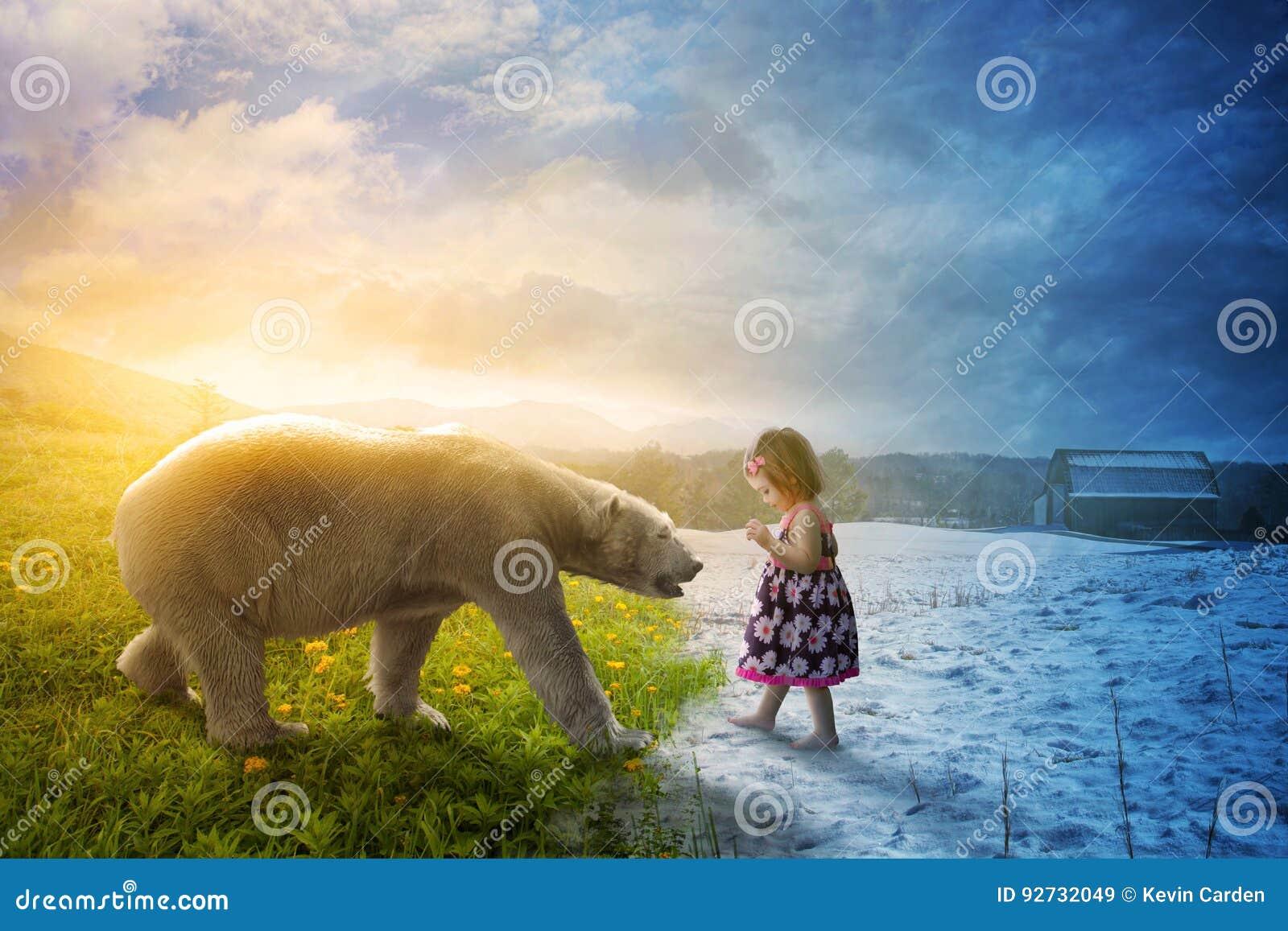 Eisbär und kleines Mädchen