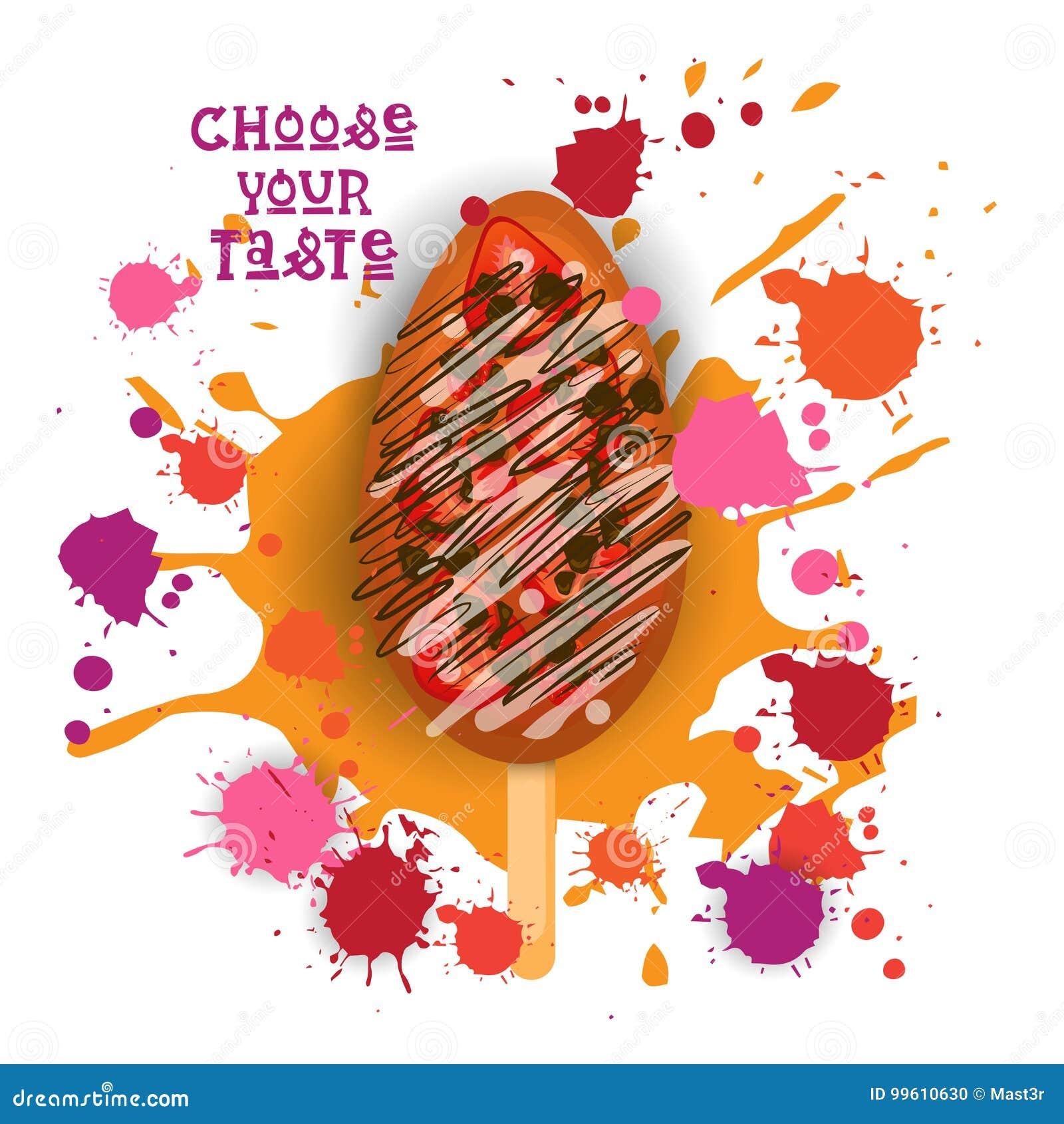 Eiscreme Lolly Colorful Dessert Icon Choose Ihr Geschmack-Café-Plakat