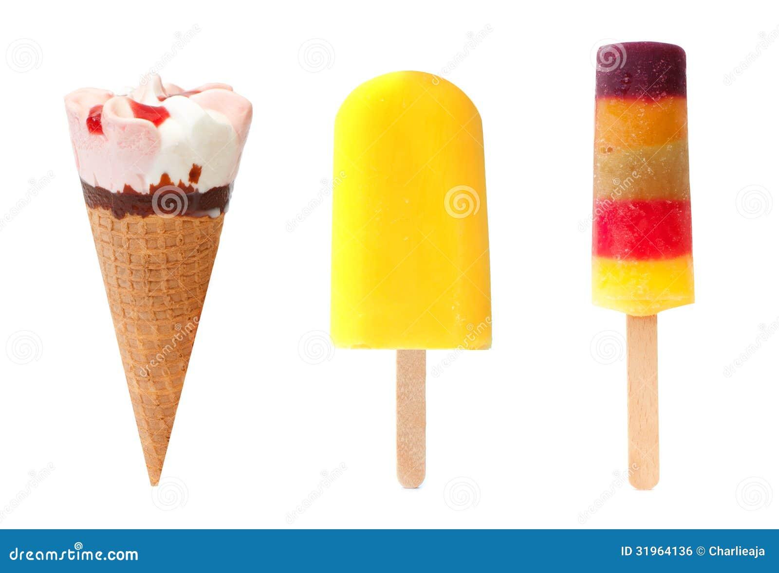 Eiscremekegel, gelbes lollypop und Eis am Stiel-Auswahl über einem ...