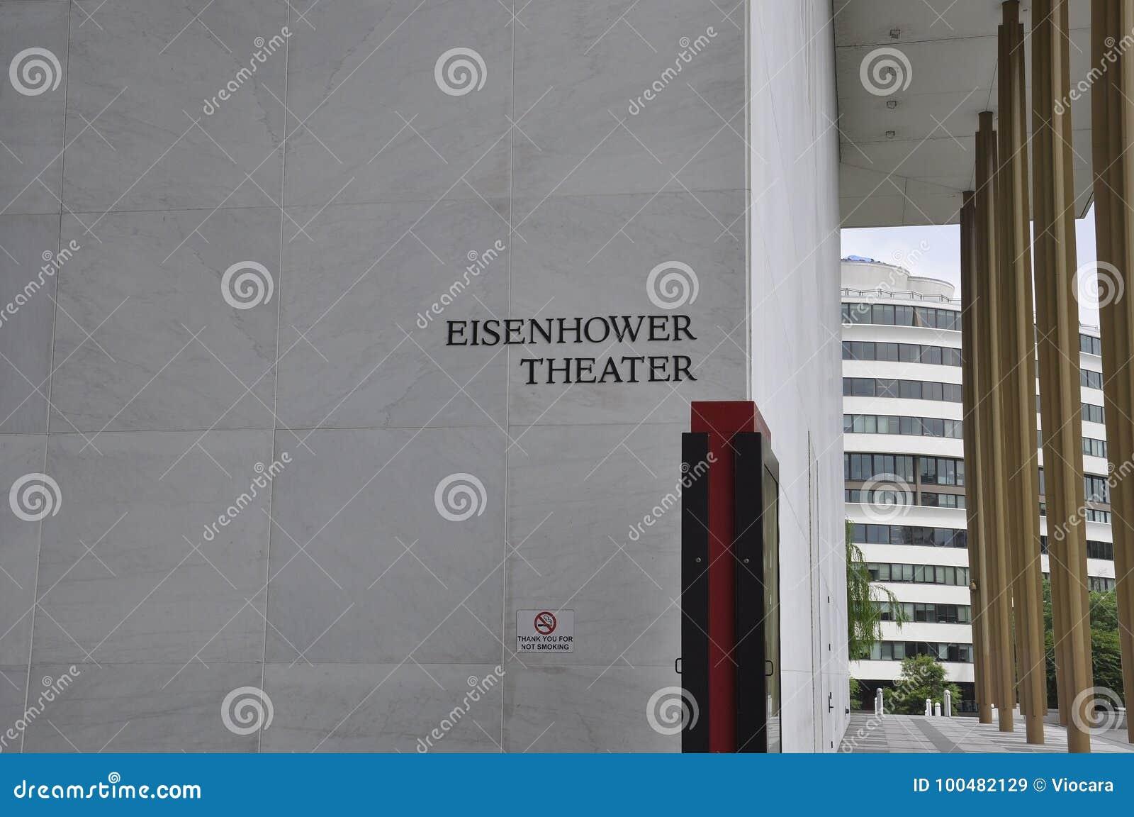 Eisenhower-Theater-Schild in Kennedy Center Memorial von Washington District von Kolumbien USA