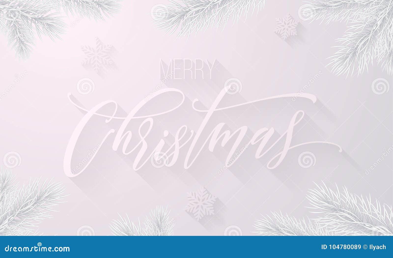 Weihnachtsgrüße Als Tannenbaum.Eisiger Gefrorener Kalligraphieguß Der Frohen Weihnachten Und Weißer
