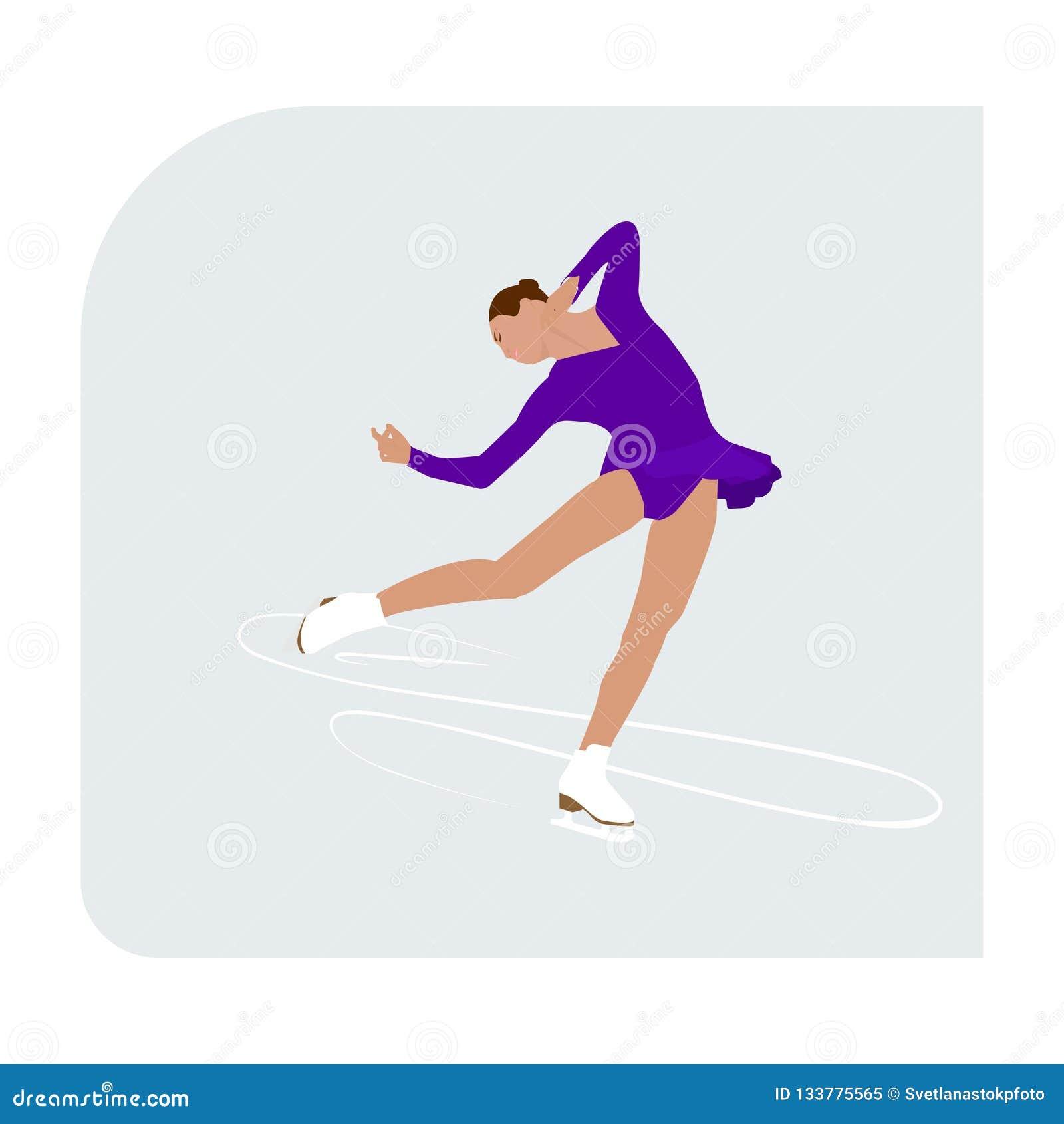 Eiskunstlaufeisbahn mit Schlittschuhläuferathleten-Wintersport-Frauendame