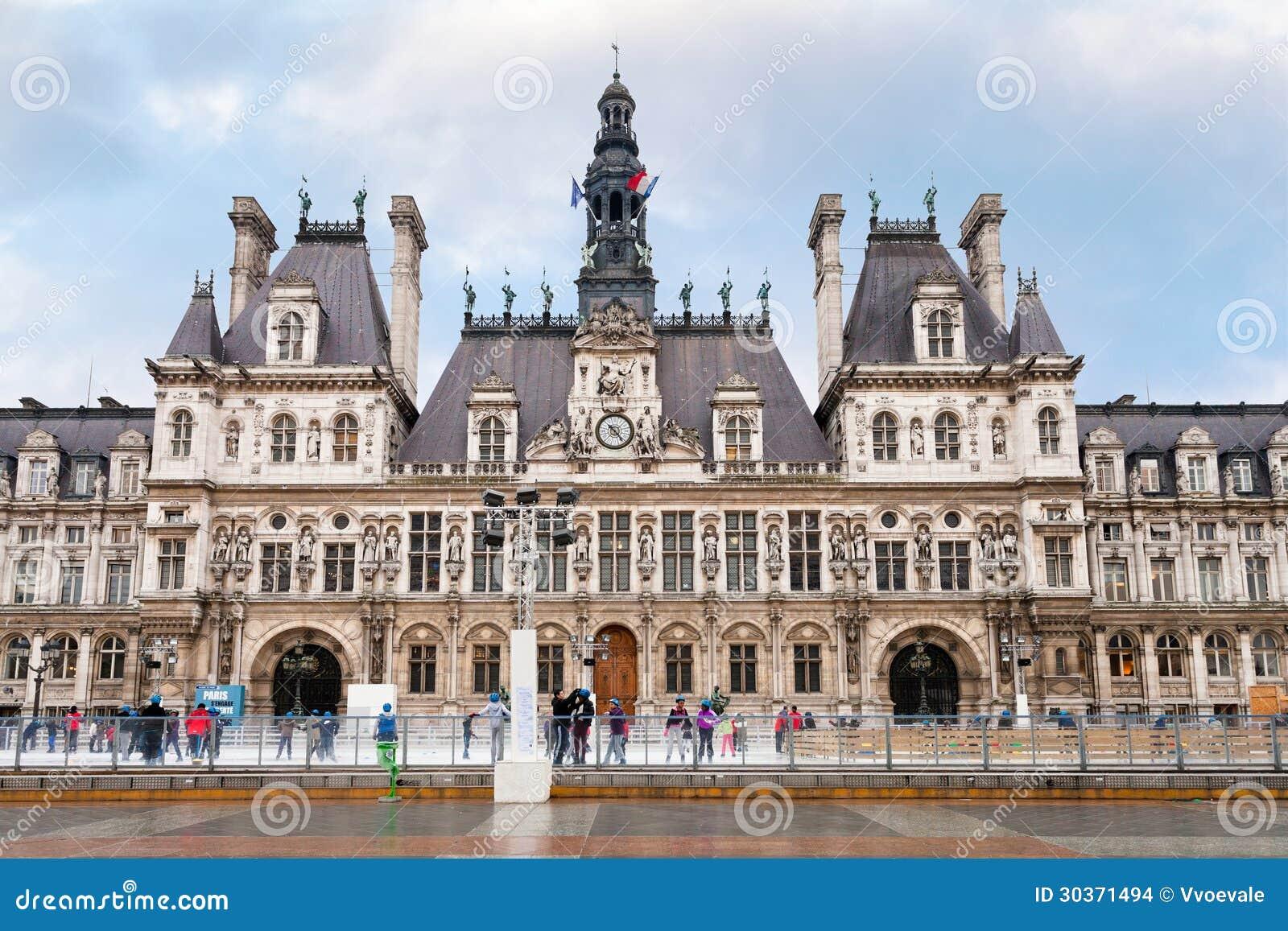 Eislauf Nahe Hotel De Ville Rathaus Paris