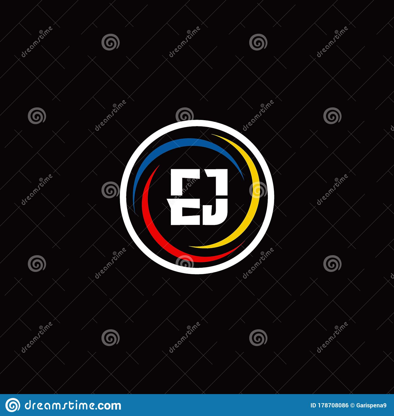 Ej Monogram Logo Isolated On Circle Shape With 3 Slash Colors Rounded Stock Vector Illustration Of Initial Letter 178708086