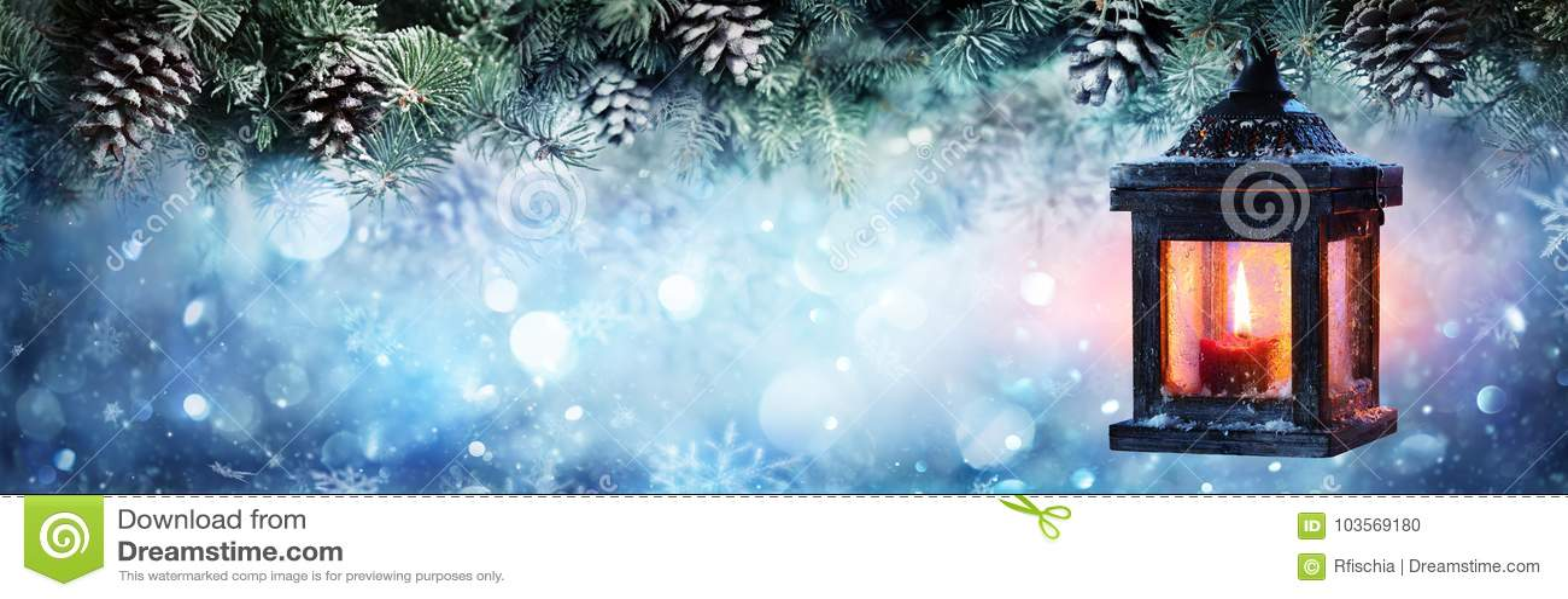 Ejecución de la linterna de la Navidad en las ramas del abeto