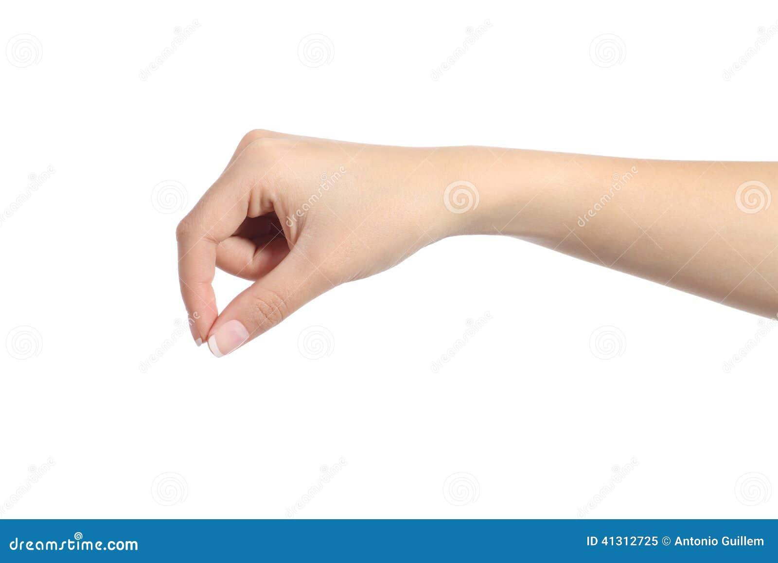 Ejecución de la mano de la mujer algo espacio en blanco