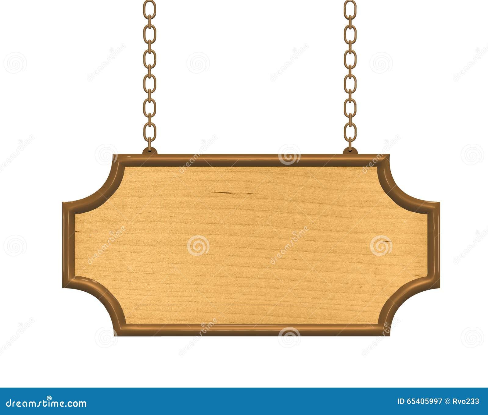 Ejecuci n de madera del letrero en cadenas met licas foto - Letreros en madera ...