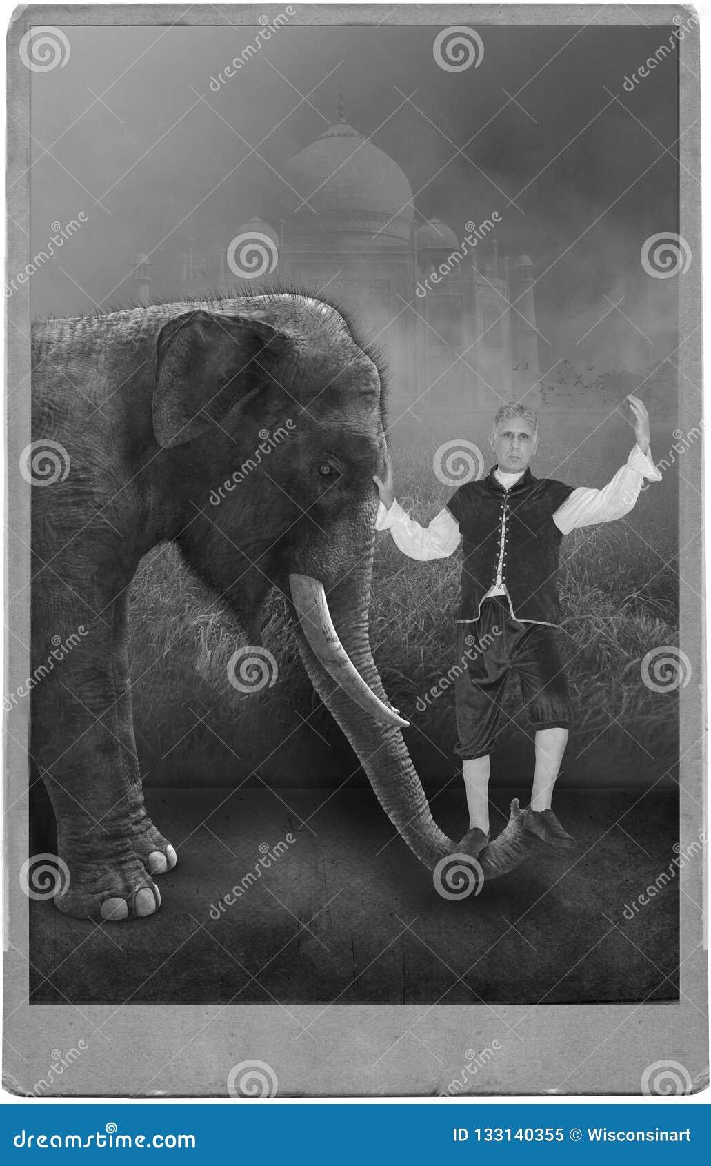 Ejecutante de circo del vintage, carnaval, elefante