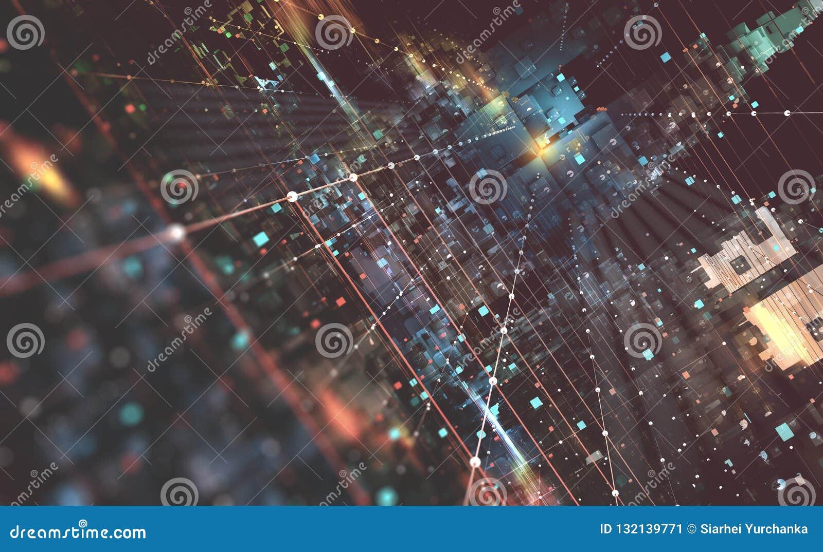 Ejemplo abstracto del fondo 3D de la tecnología Arquitectura de ordenador cuántico Ciudad fantástica de la noche