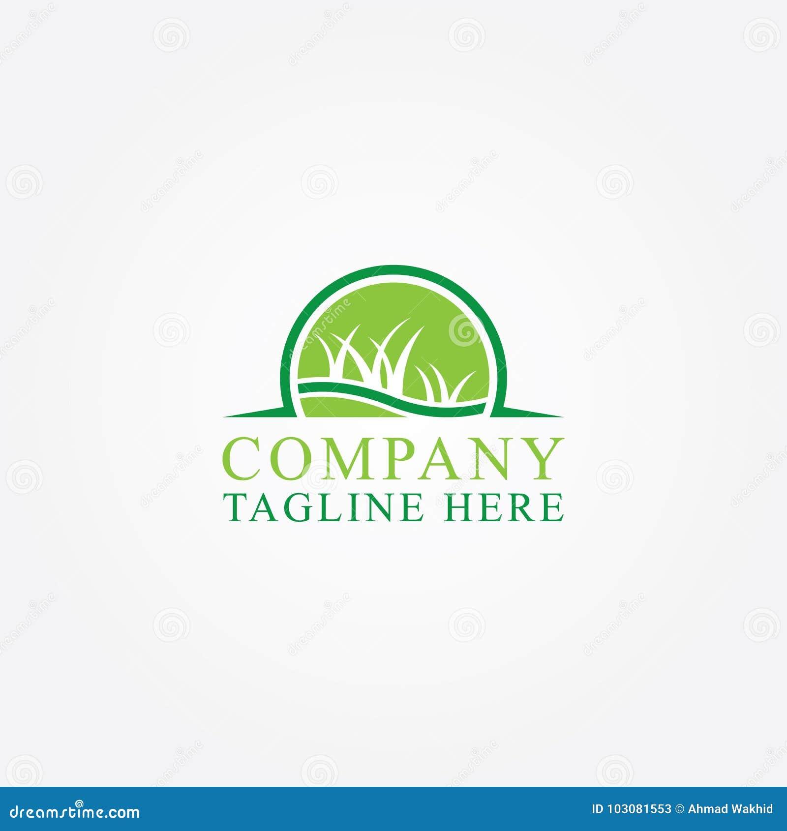 Ejemplo abstracto del logotipo del vector del icono de la hierba verde