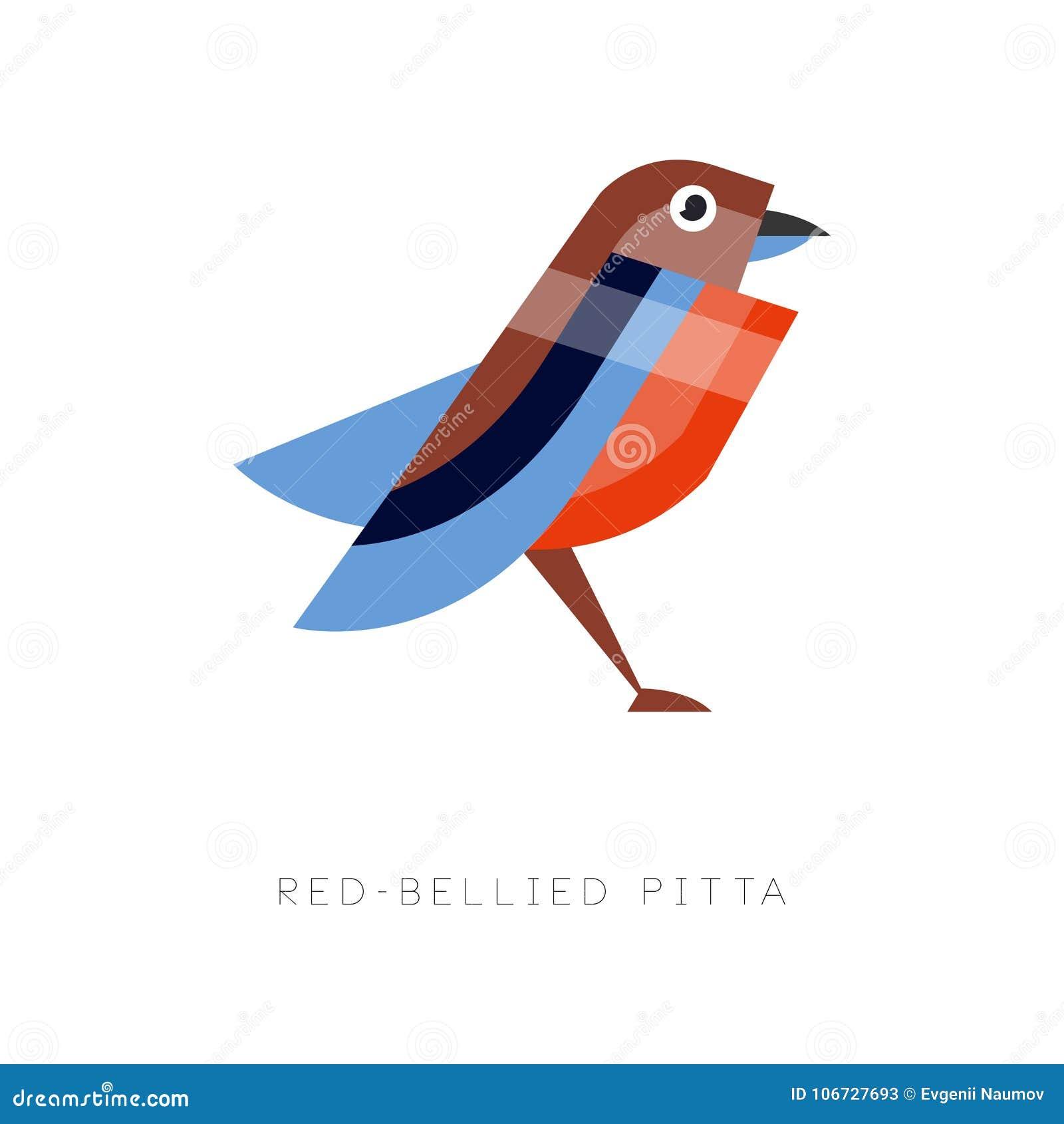 Ejemplo Abstracto Del Pitta Hinchado Rojo Pájaro Colorido Hecho De