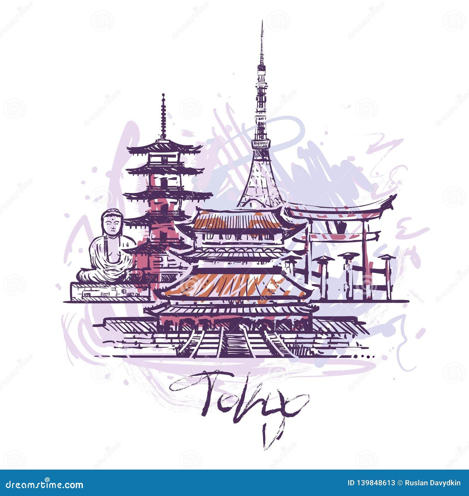 Ejemplo abstracto del vector del dibujo del color de Tokio aislado en el fondo blanco
