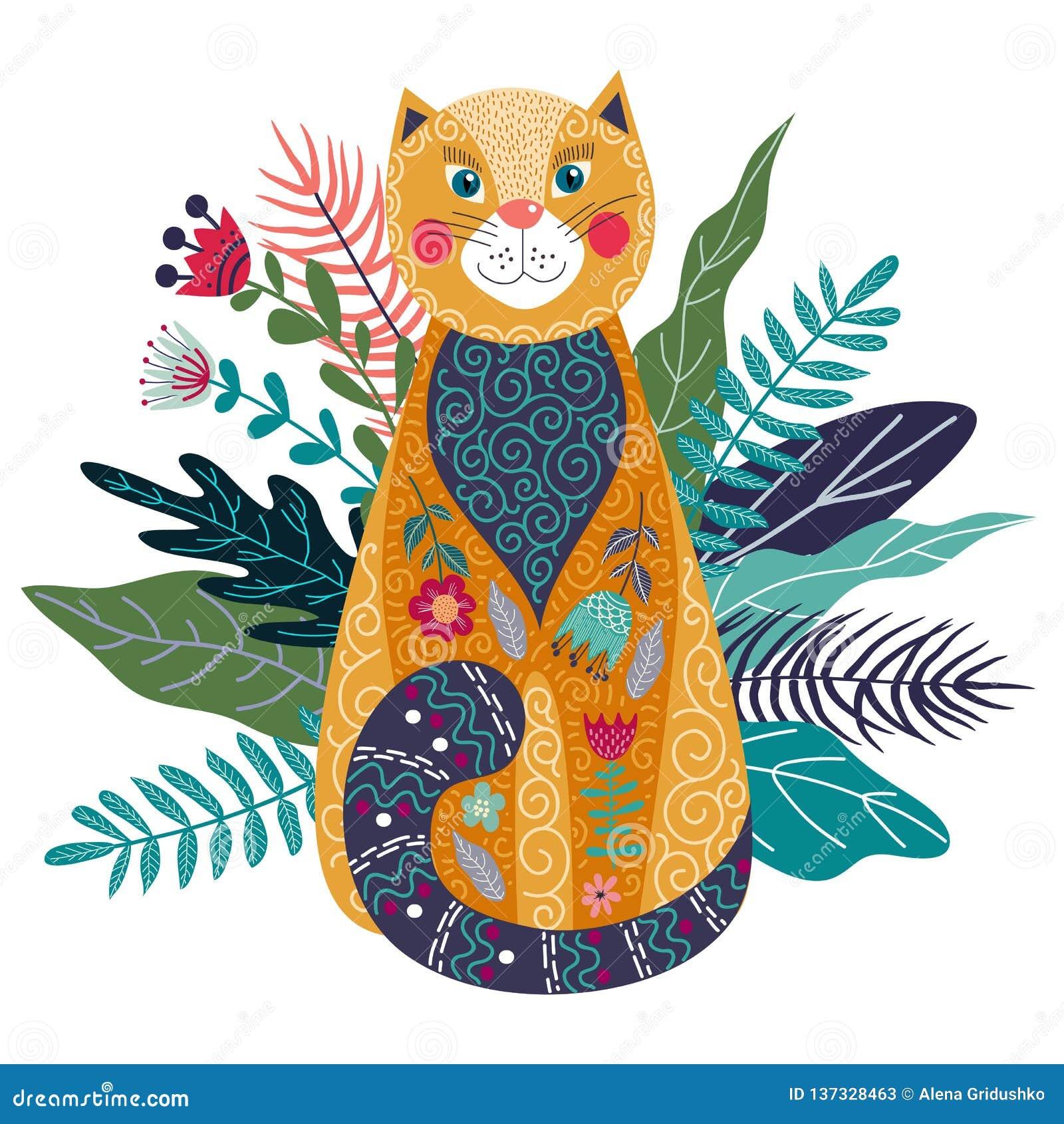 Ejemplo aislado colorido del vector del arte con el gato, la flor y la hierba lindos del jengibre en un fondo blanco