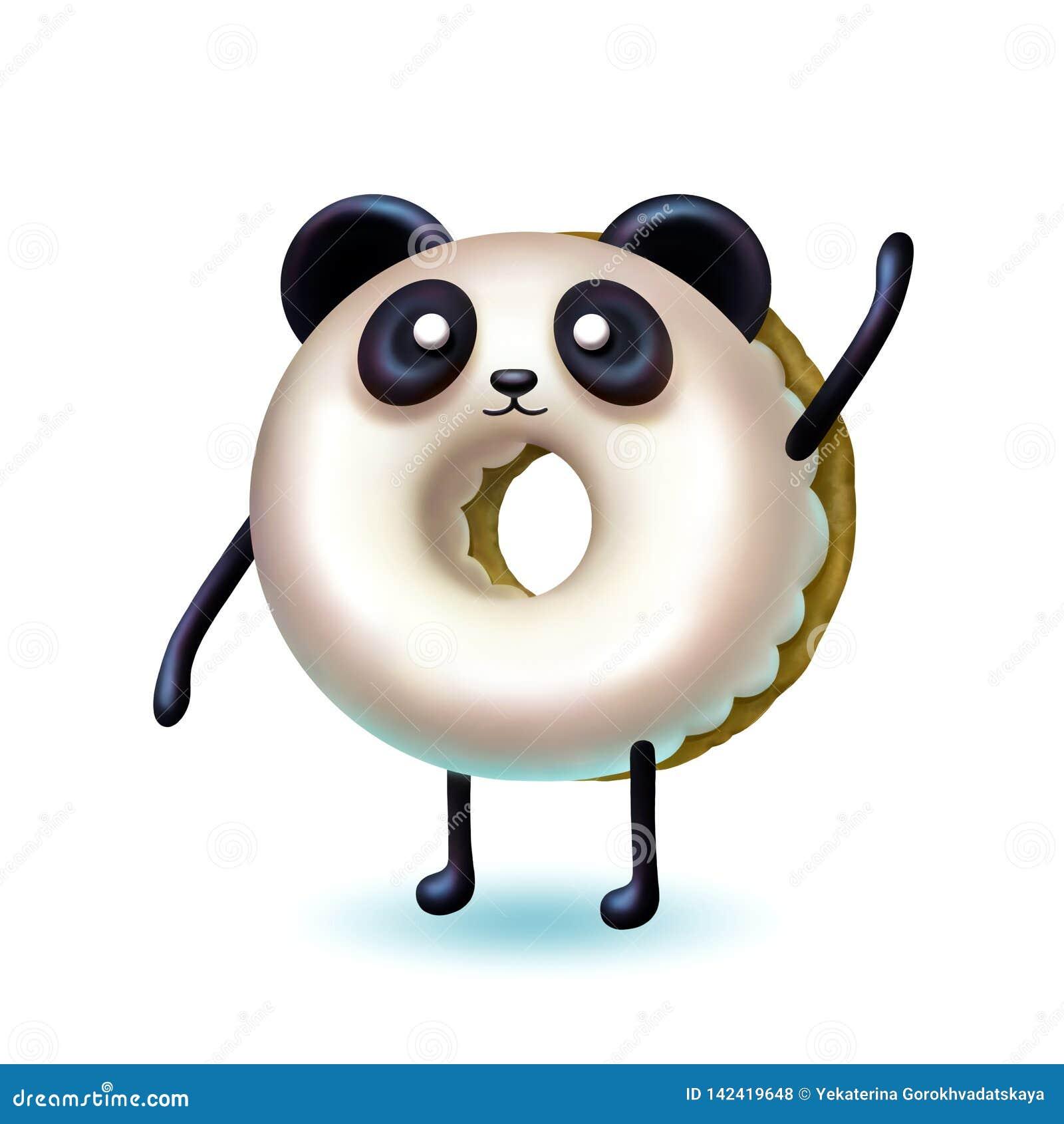 Ejemplo aislado de la panda del buñuelo con el esmalte cremoso