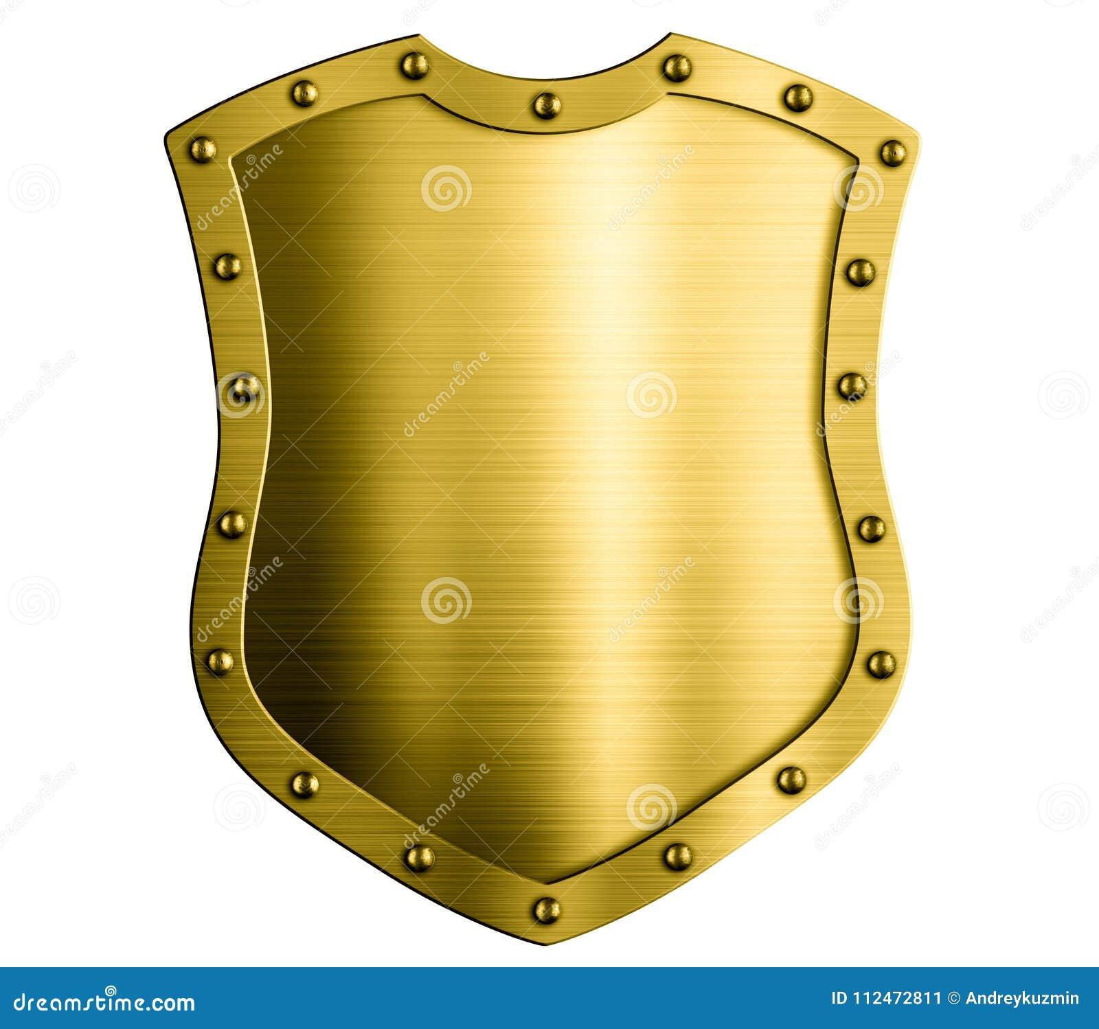 Ejemplo aislado escudo medieval 3d del oro del metal
