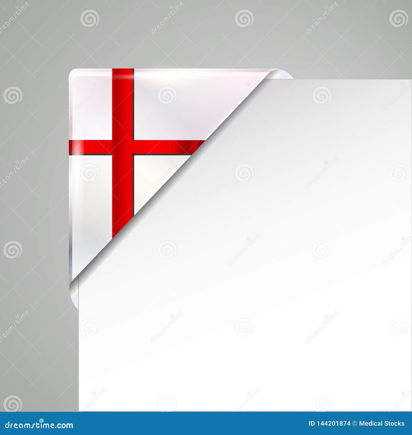 Ejemplo aislado esquina metálica del vector de la bandera de Inglaterra