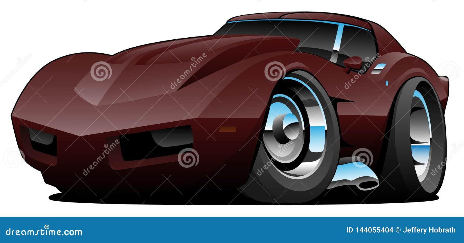 Ejemplo aislado historieta americana clásica del vector del coche de deportes de los años 70